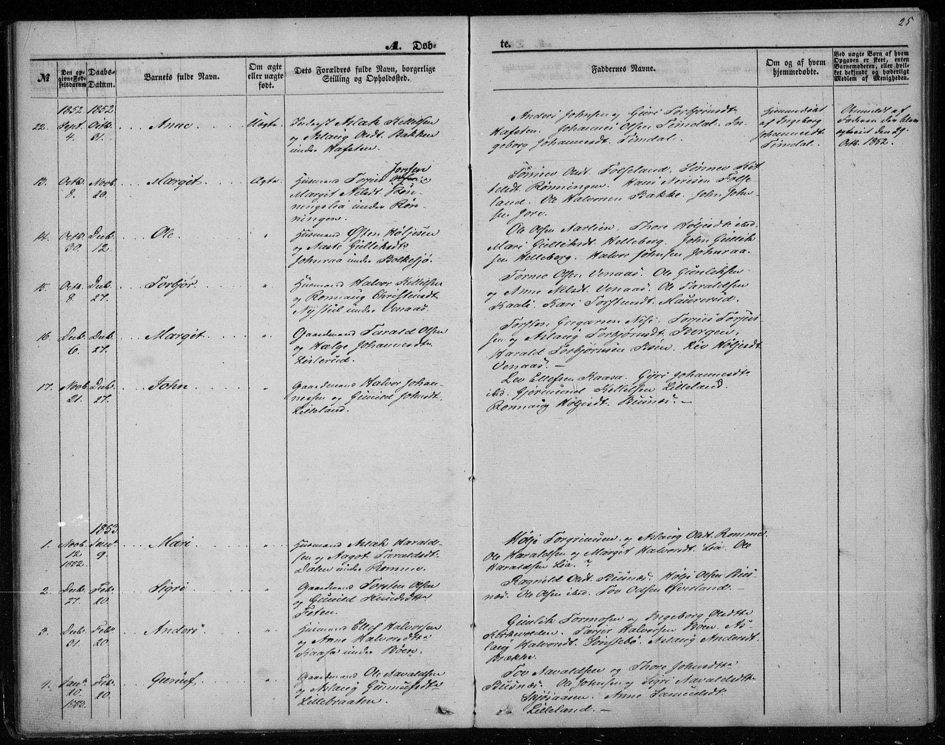 SAKO, Gransherad kirkebøker, F/Fa/L0002: Ministerialbok nr. I 2, 1844-1859, s. 25
