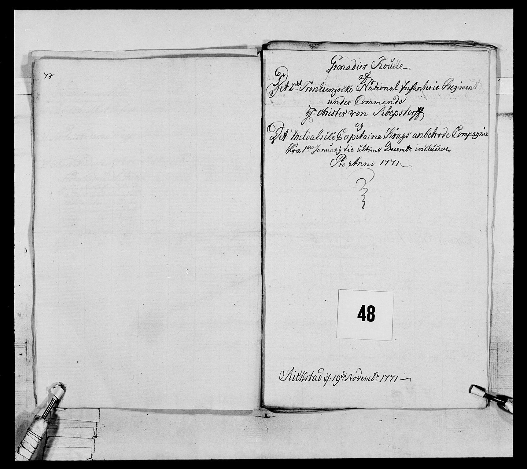 RA, Generalitets- og kommissariatskollegiet, Det kongelige norske kommissariatskollegium, E/Eh/L0076: 2. Trondheimske nasjonale infanteriregiment, 1766-1773, s. 157