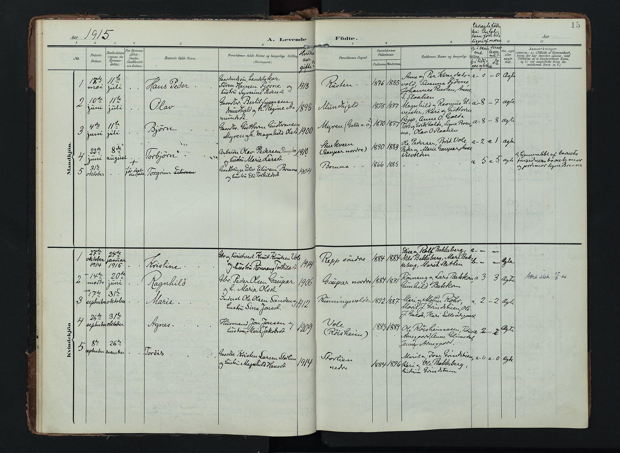 SAH, Lom prestekontor, K/L0012: Ministerialbok nr. 12, 1904-1928, s. 15
