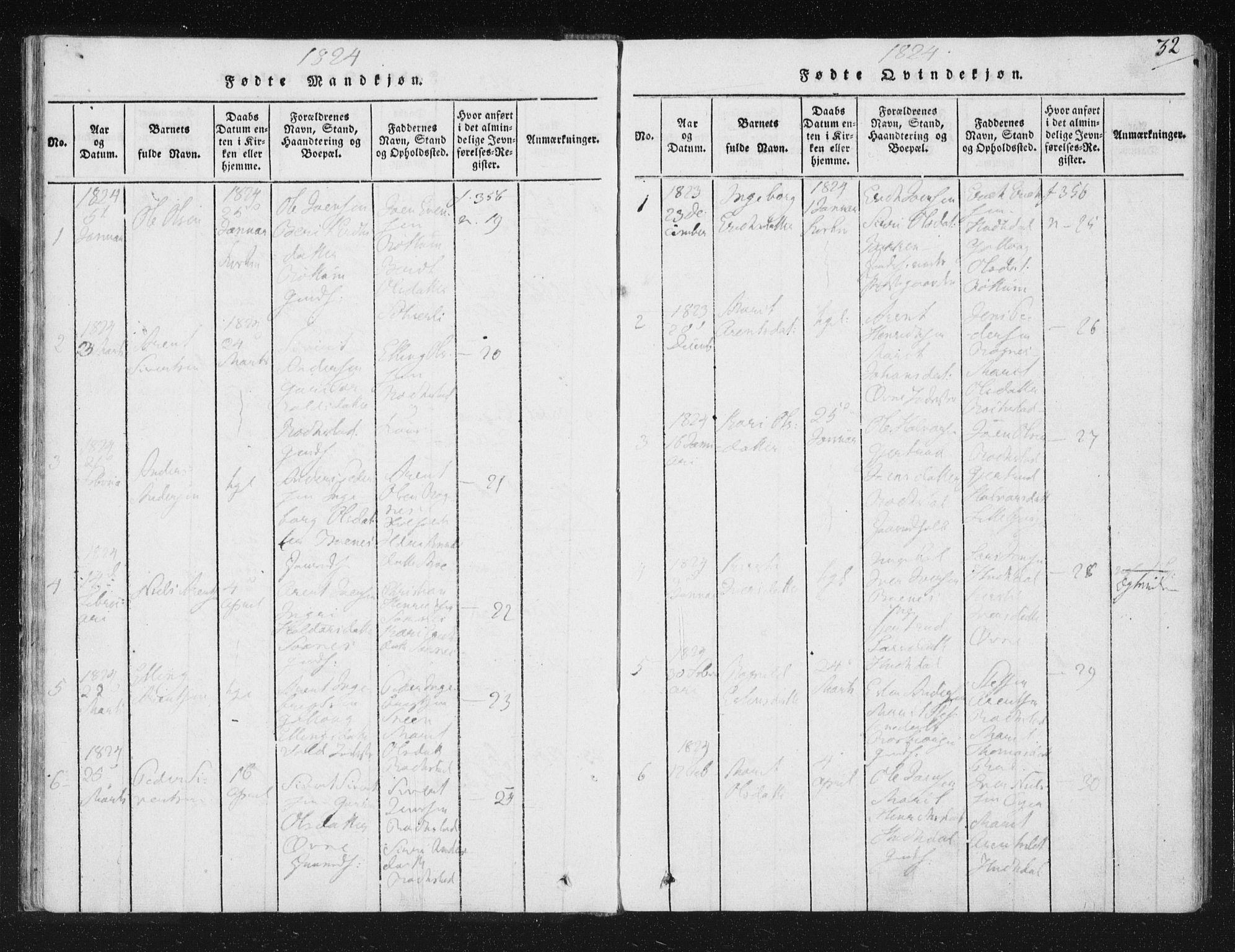 SAT, Ministerialprotokoller, klokkerbøker og fødselsregistre - Sør-Trøndelag, 687/L0996: Ministerialbok nr. 687A04, 1816-1842, s. 32