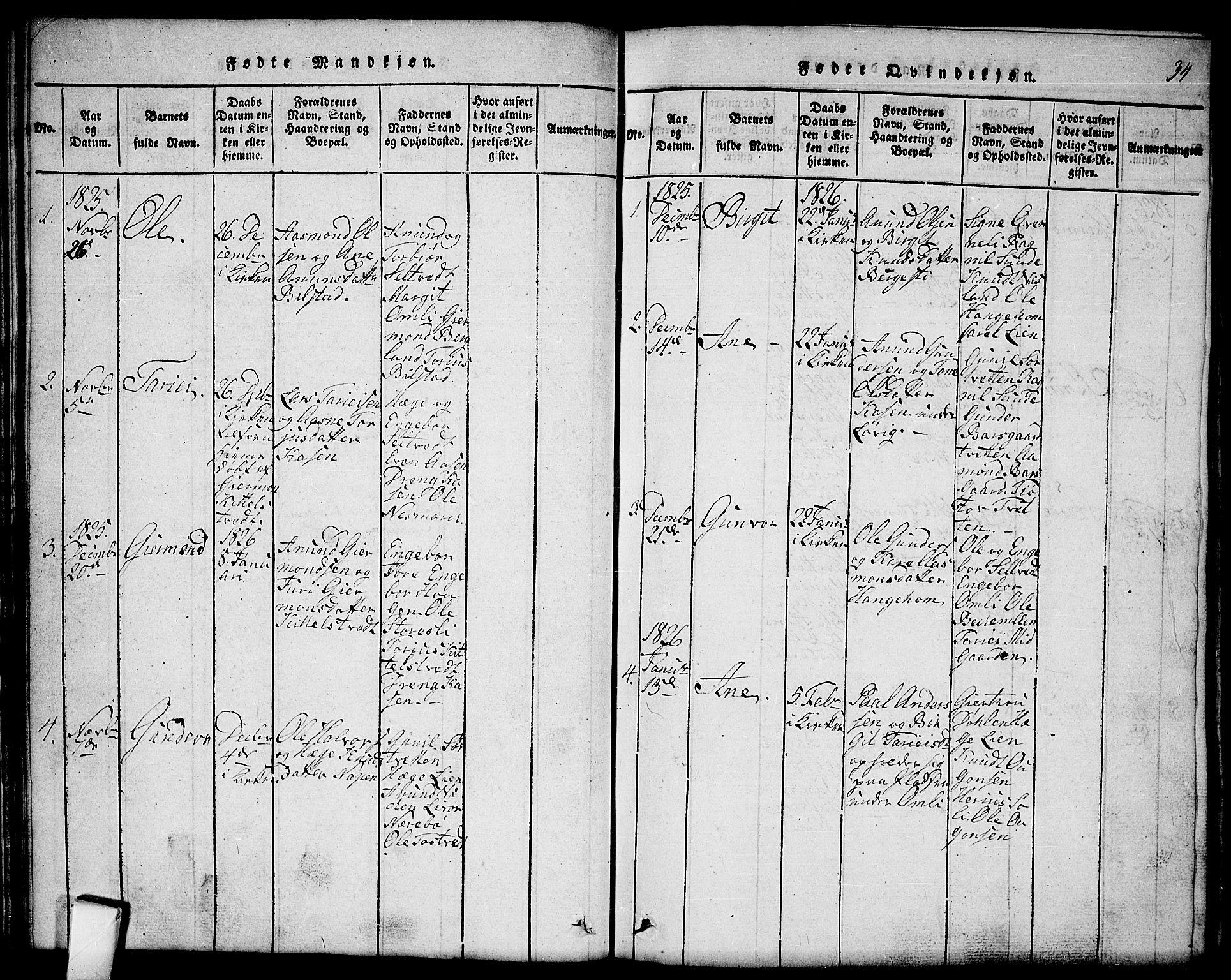 SAKO, Mo kirkebøker, G/Gb/L0001: Klokkerbok nr. II 1, 1814-1843, s. 34