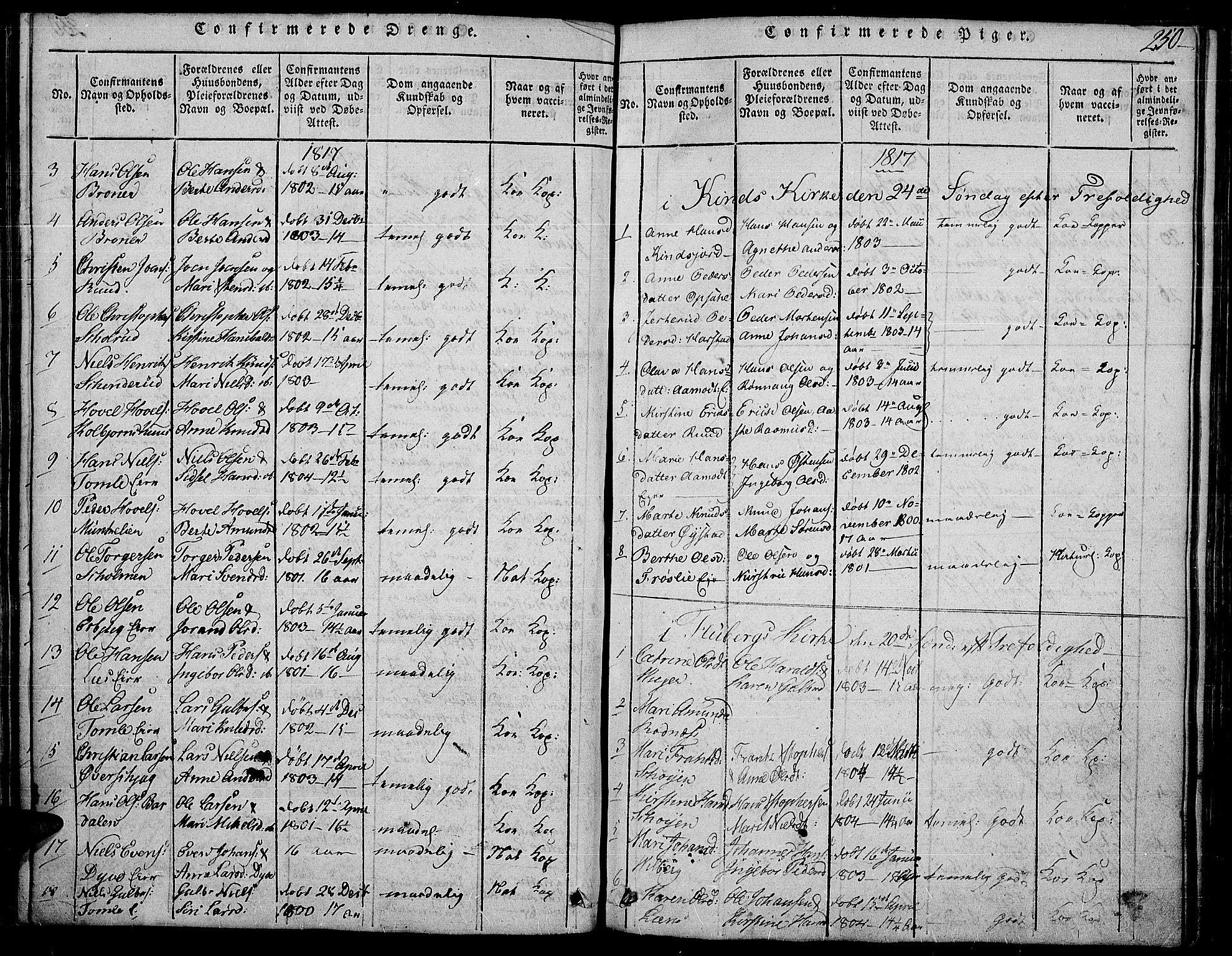 SAH, Land prestekontor, Ministerialbok nr. 7, 1814-1830, s. 250b