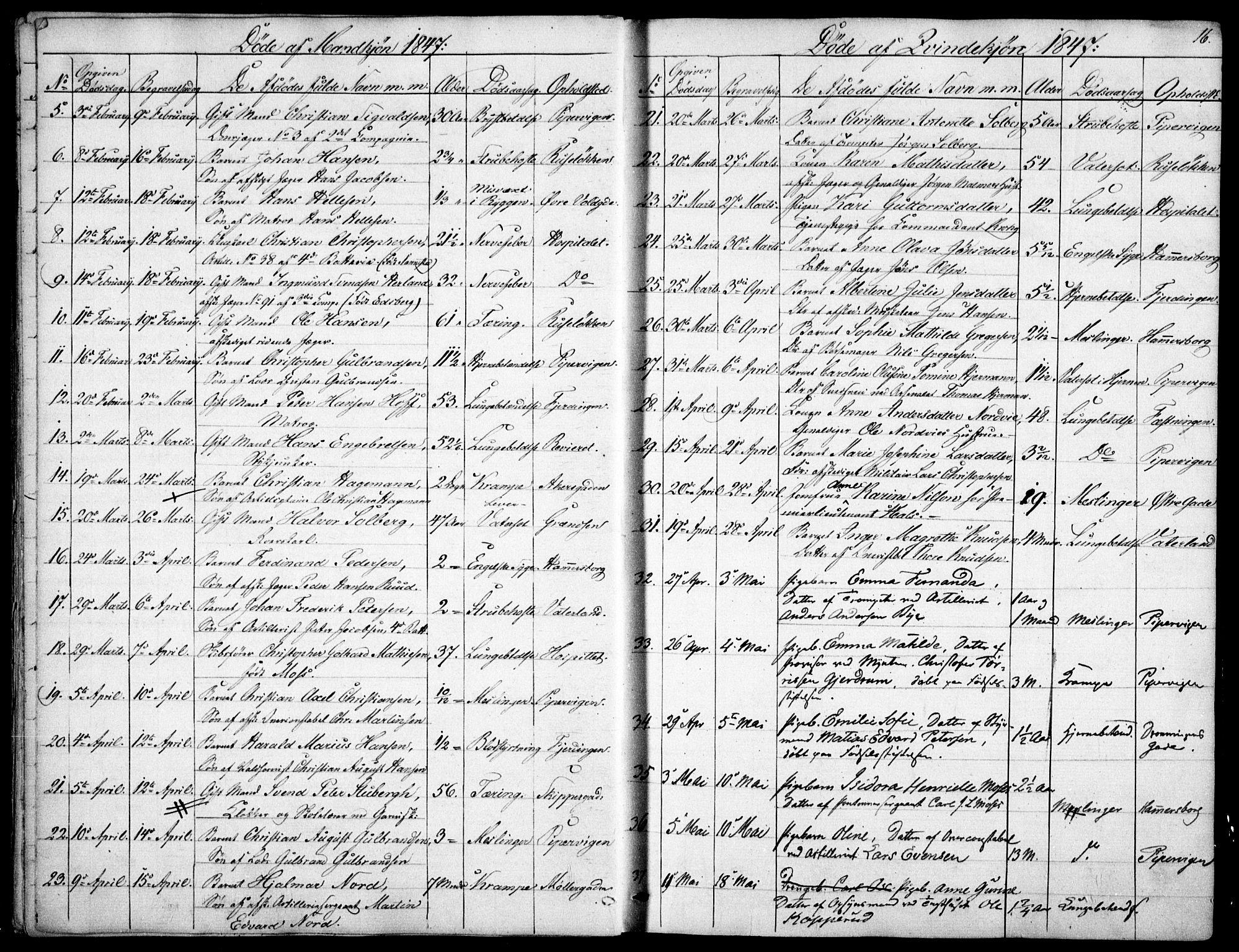 SAO, Garnisonsmenigheten Kirkebøker, F/Fa/L0009: Ministerialbok nr. 9, 1842-1859, s. 16