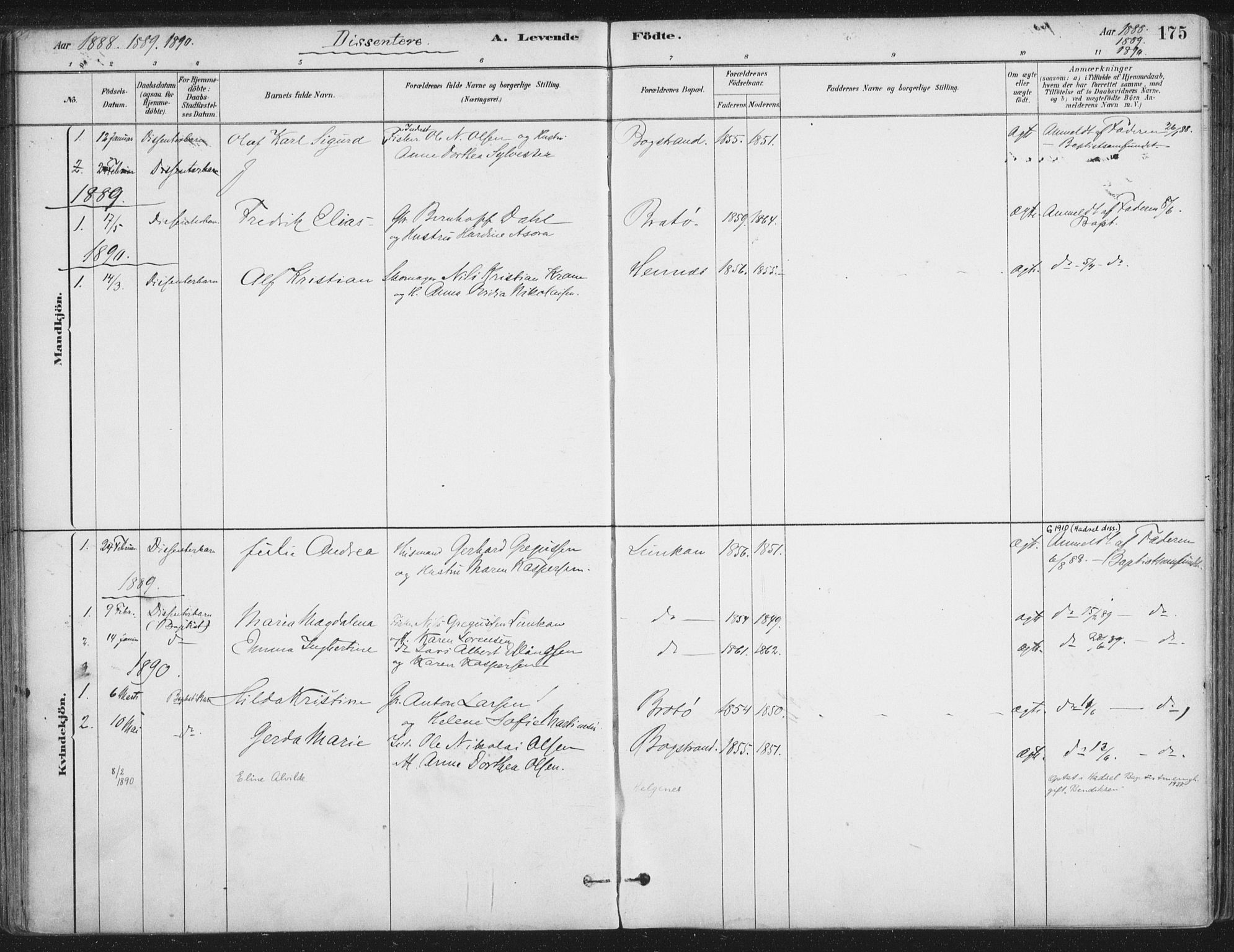 SAT, Ministerialprotokoller, klokkerbøker og fødselsregistre - Nordland, 888/L1244: Ministerialbok nr. 888A10, 1880-1890, s. 175