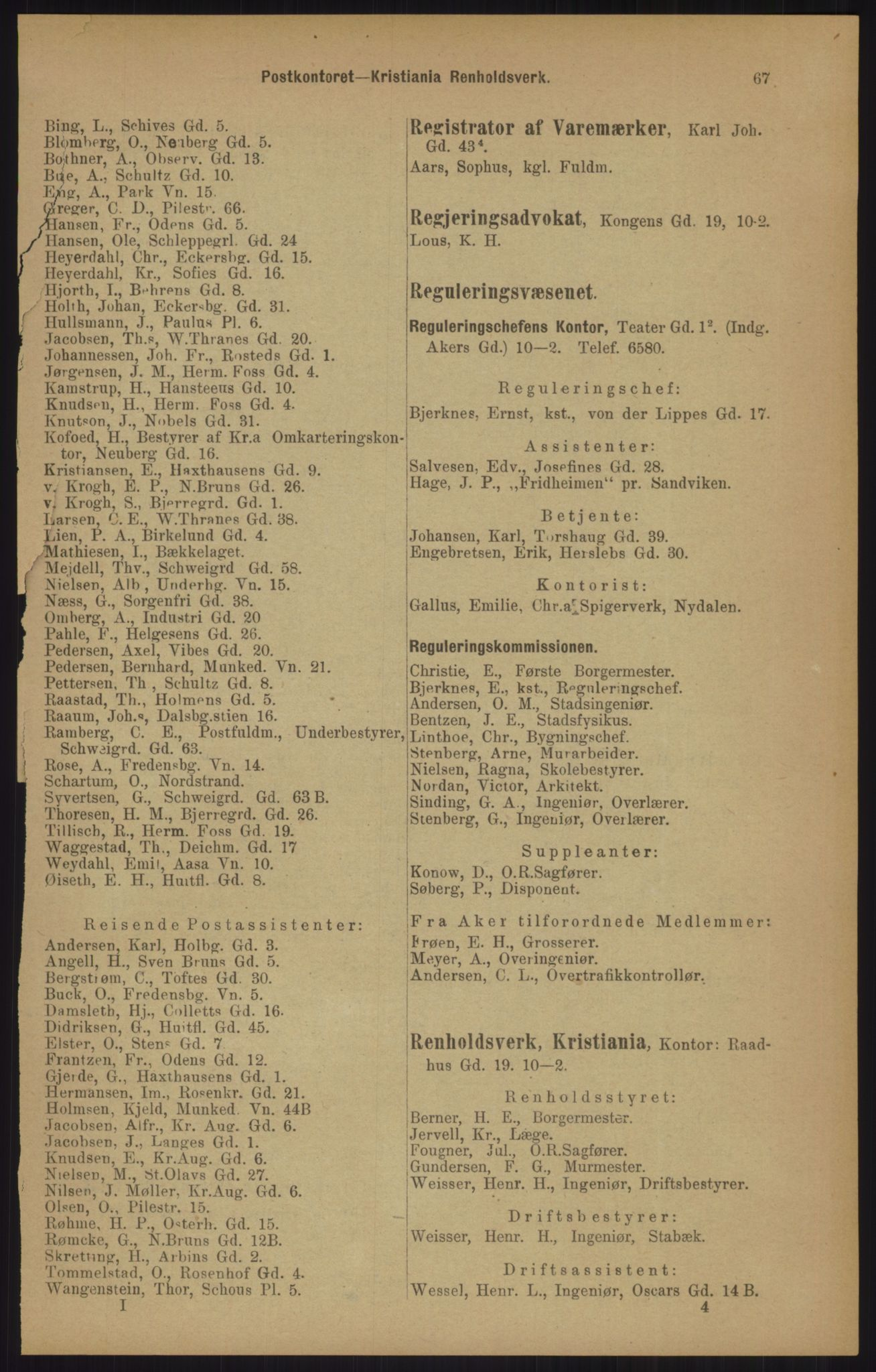 RA, Kristiania adressebok (publikasjon)*, 1905, s. 67
