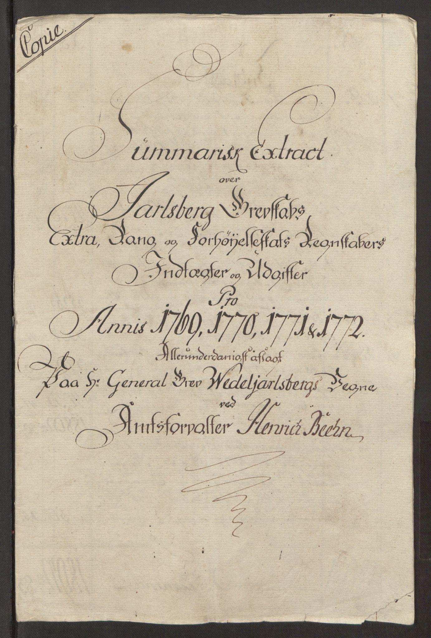 RA, Rentekammeret inntil 1814, Reviderte regnskaper, Fogderegnskap, R32/L1960: Ekstraskatten Jarlsberg grevskap, 1762-1772, s. 231