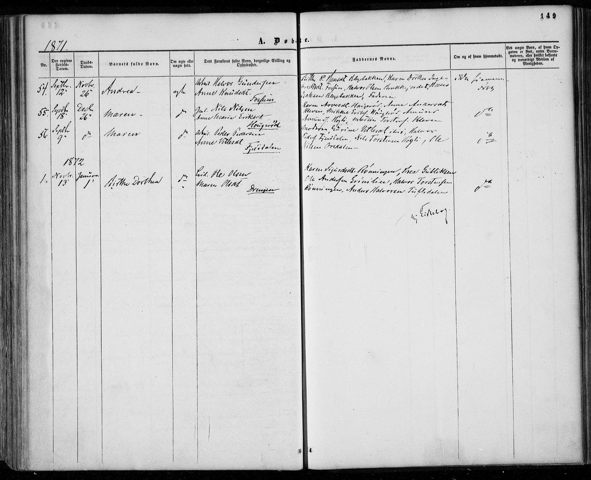 SAKO, Gjerpen kirkebøker, F/Fa/L0008a: Ministerialbok nr. 8A, 1857-1871, s. 149