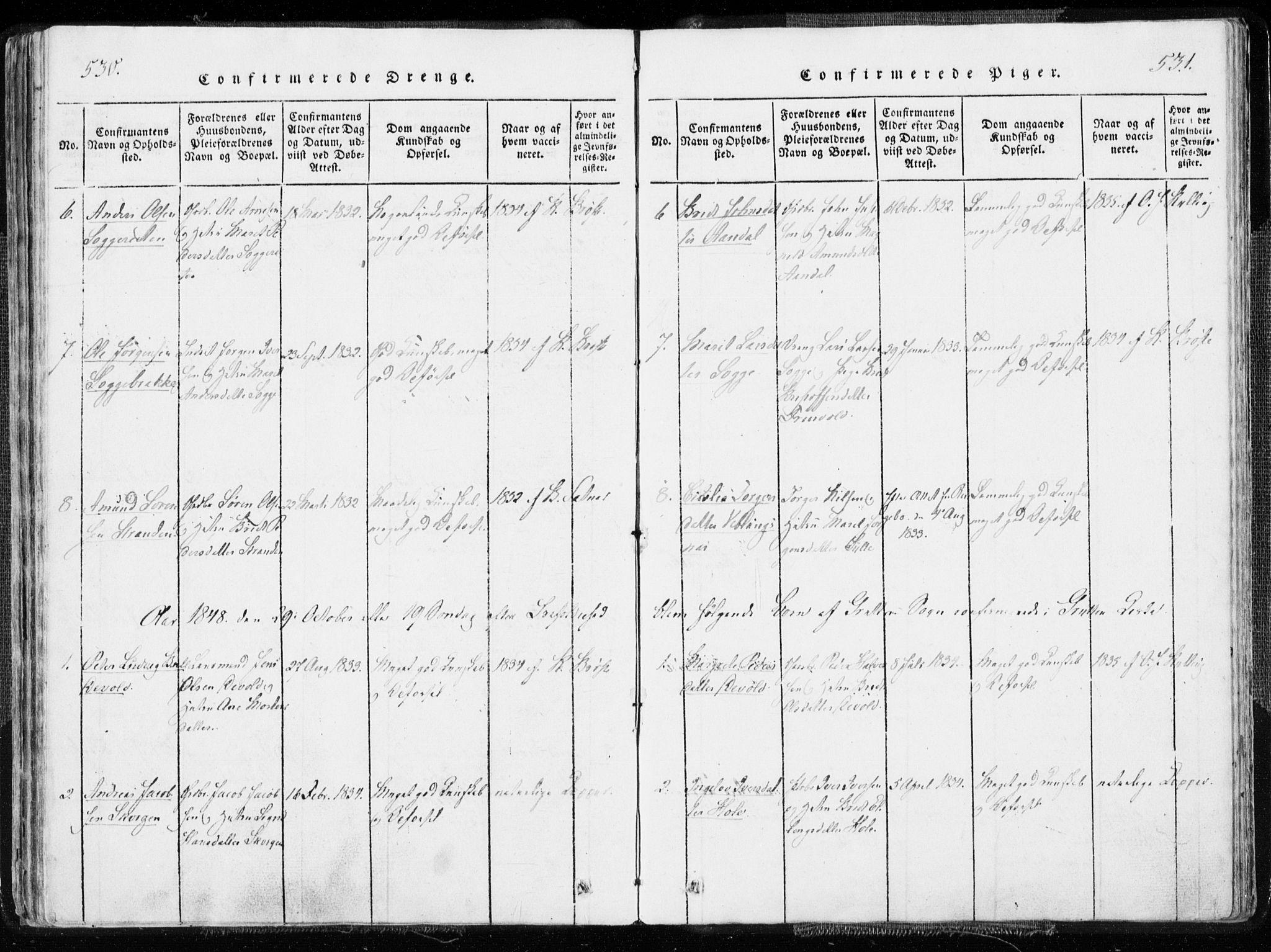 SAT, Ministerialprotokoller, klokkerbøker og fødselsregistre - Møre og Romsdal, 544/L0571: Ministerialbok nr. 544A04, 1818-1853, s. 530-531