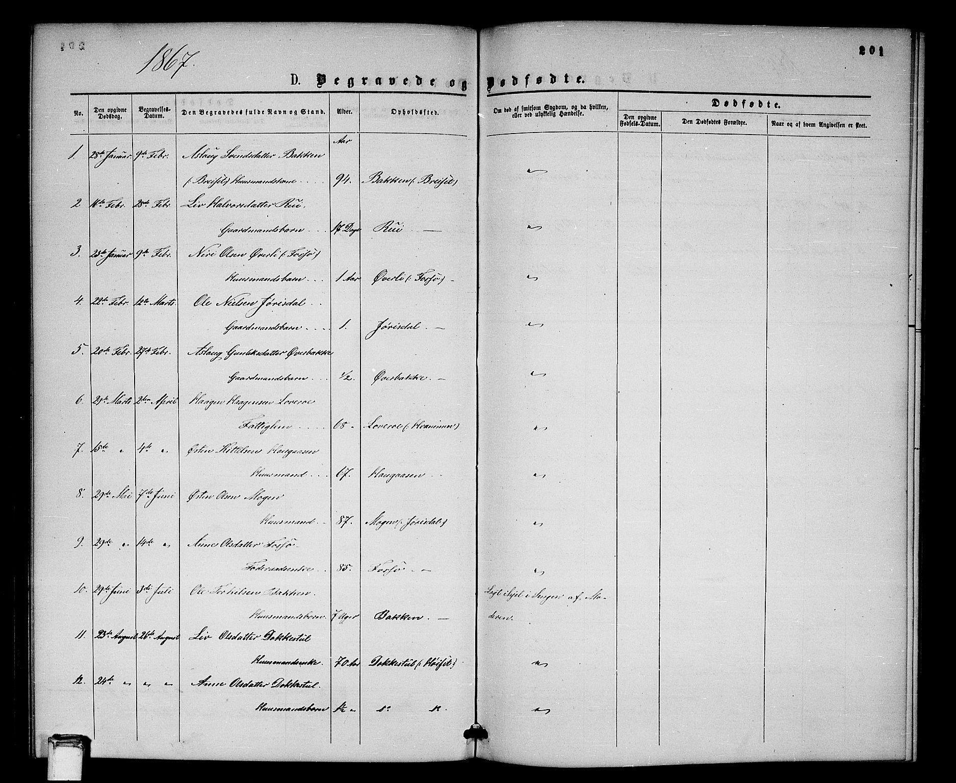 SAKO, Gransherad kirkebøker, G/Gb/L0002: Klokkerbok nr. II 2, 1860-1886, s. 201