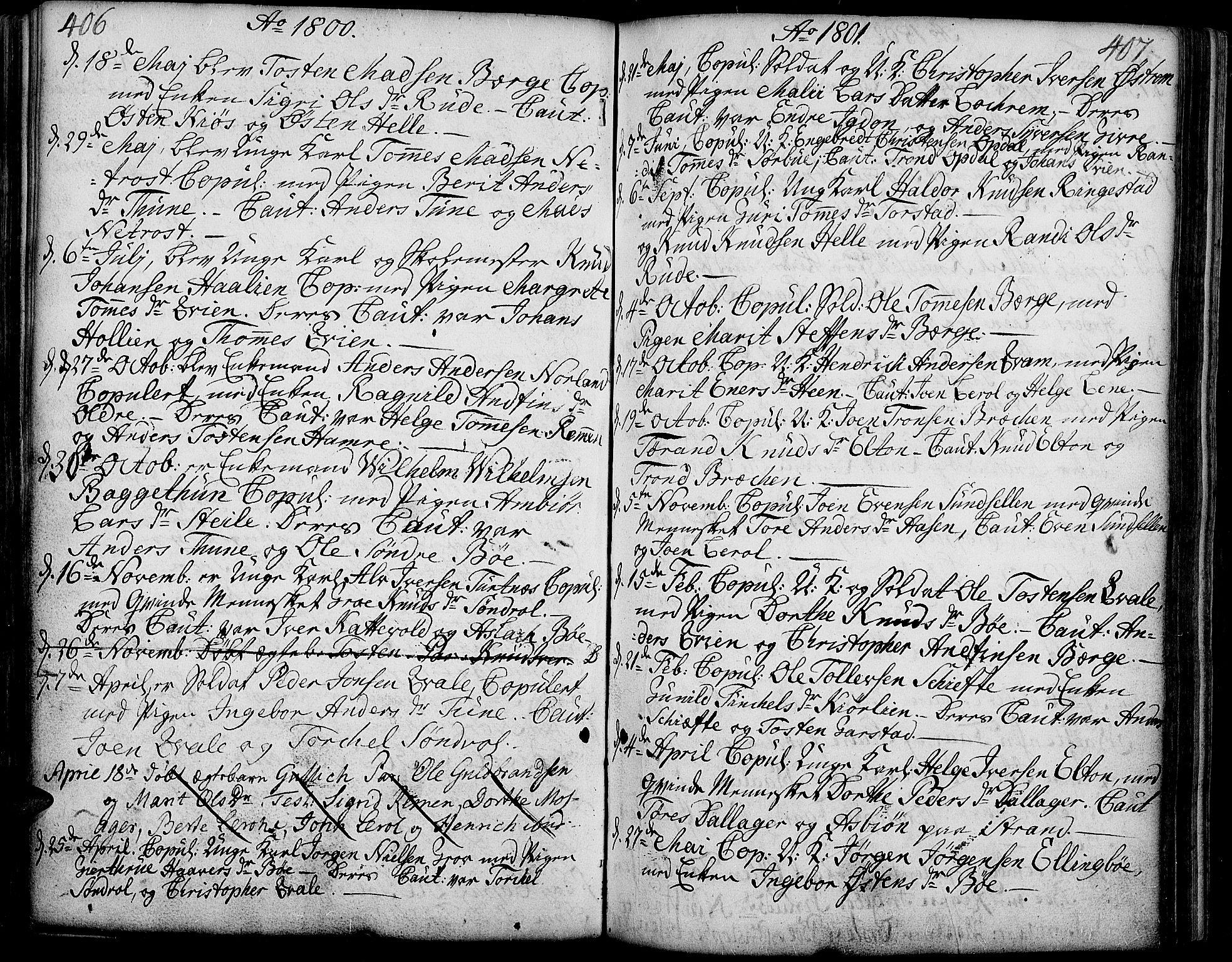 SAH, Vang prestekontor, Valdres, Ministerialbok nr. 2, 1796-1808, s. 406-407