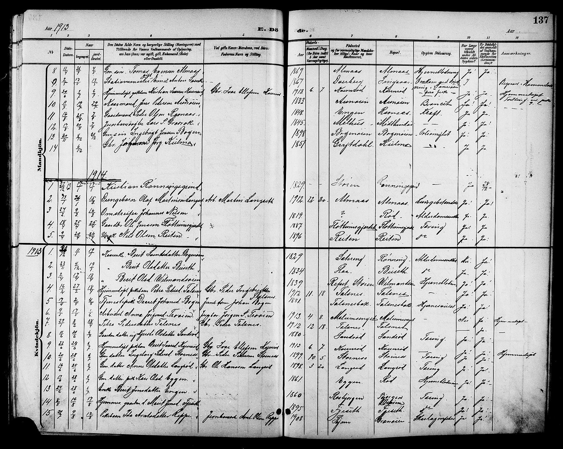 SAT, Ministerialprotokoller, klokkerbøker og fødselsregistre - Sør-Trøndelag, 688/L1029: Klokkerbok nr. 688C04, 1899-1915, s. 137