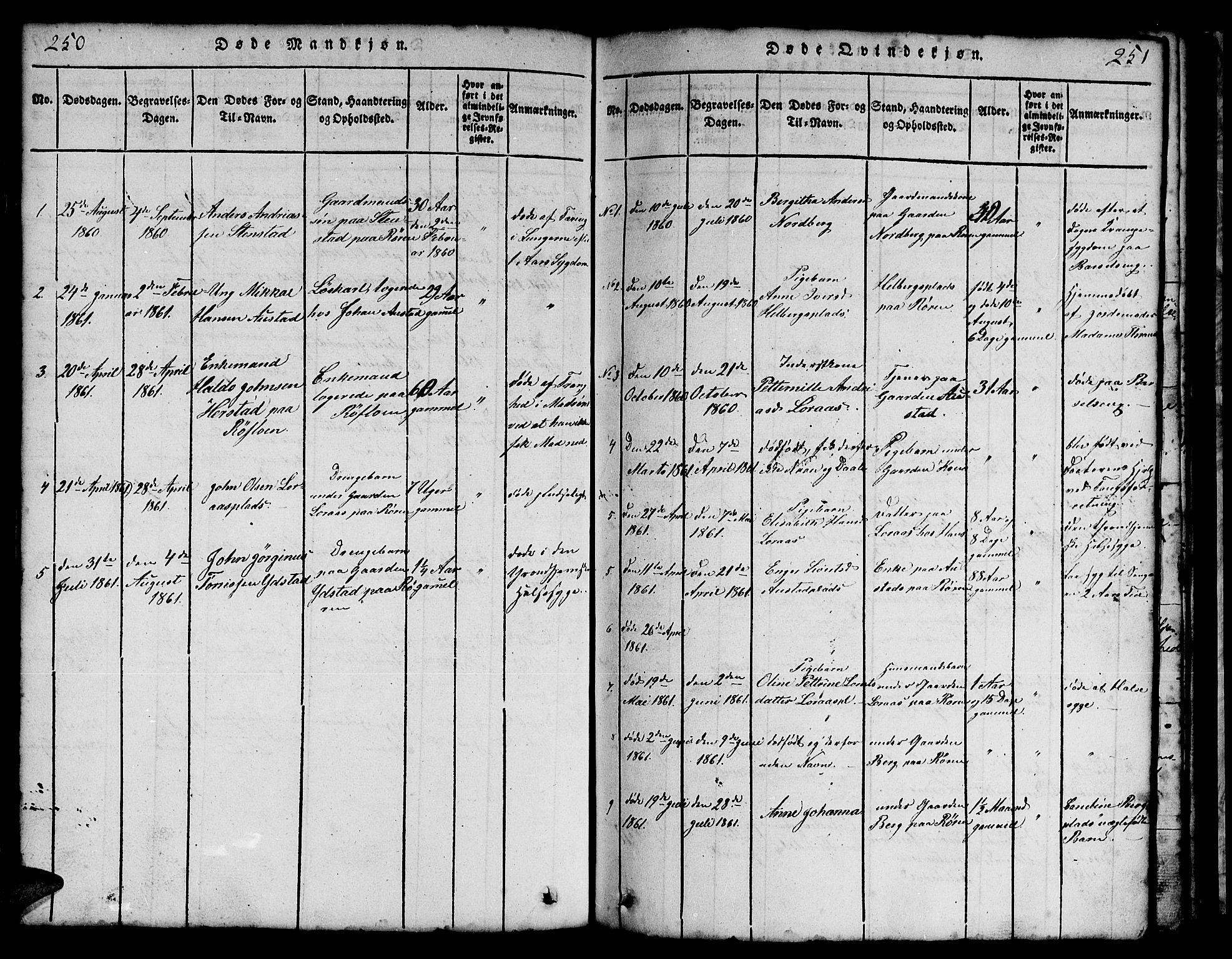 SAT, Ministerialprotokoller, klokkerbøker og fødselsregistre - Nord-Trøndelag, 731/L0310: Klokkerbok nr. 731C01, 1816-1874, s. 250-251