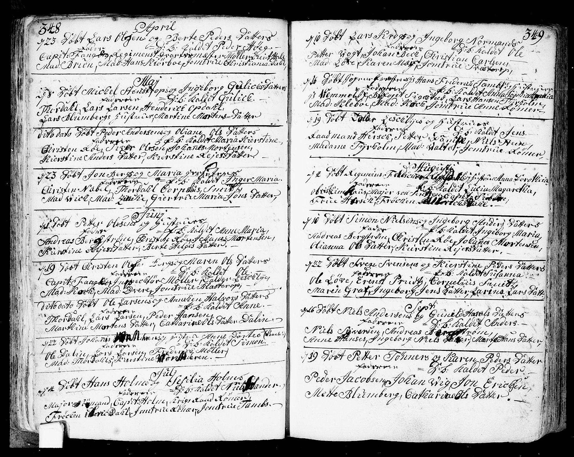 SAO, Fredrikstad prestekontor Kirkebøker, F/Fa/L0002: Ministerialbok nr. 2, 1750-1804, s. 348-349