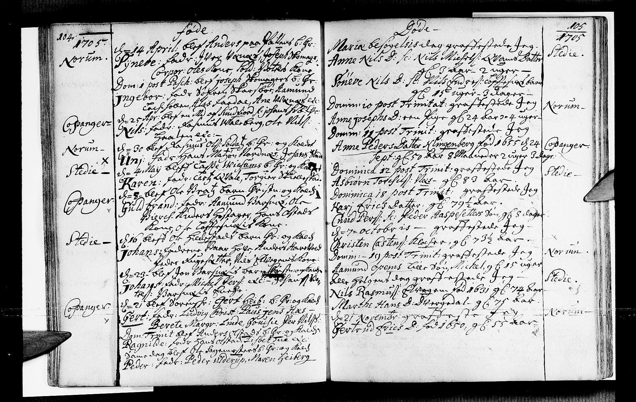SAB, Sogndal sokneprestembete, H/Haa/Haaa/L0001: Ministerialbok nr. A 1, 1689-1713, s. 104-105