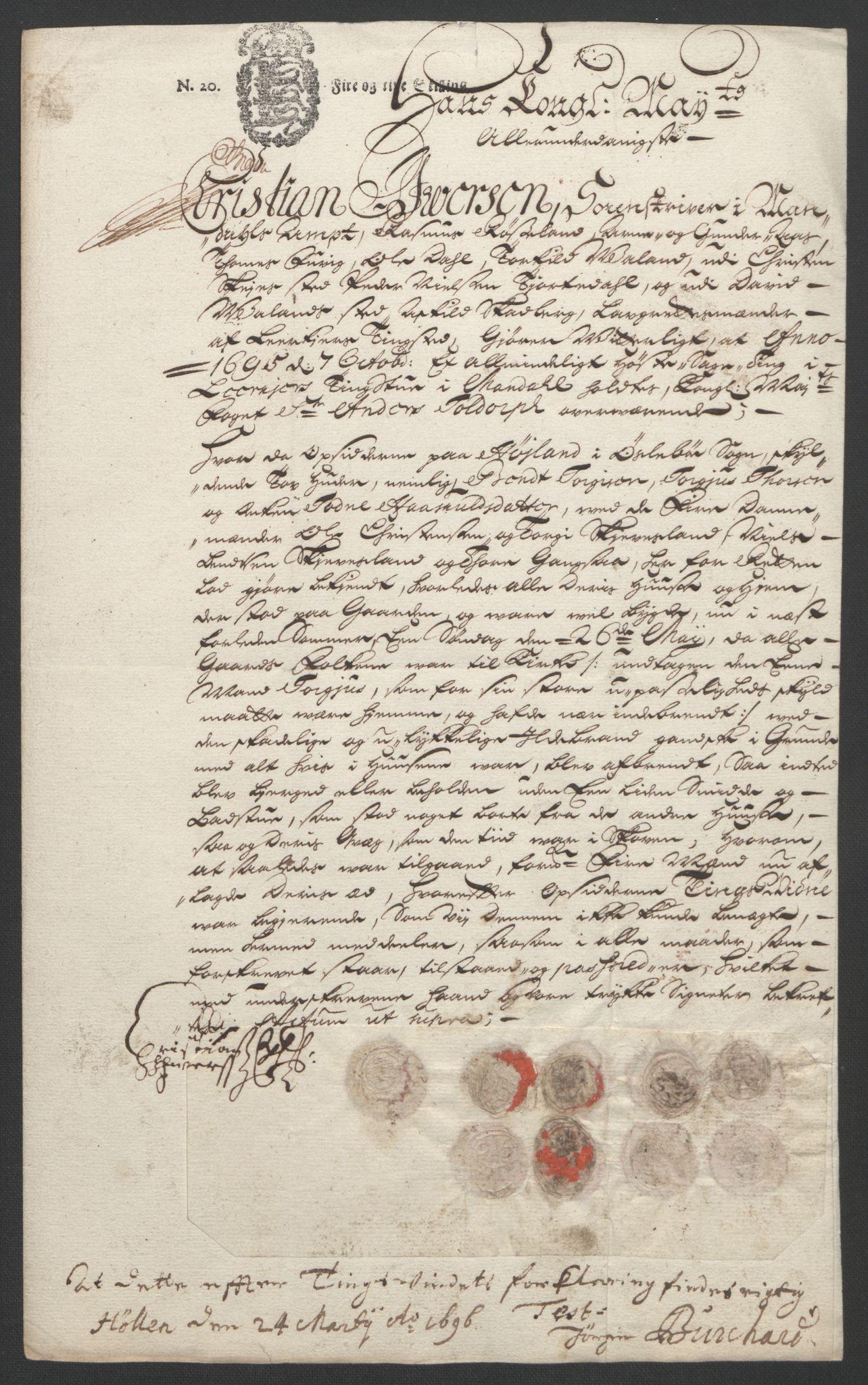 RA, Rentekammeret inntil 1814, Reviderte regnskaper, Fogderegnskap, R43/L2545: Fogderegnskap Lista og Mandal, 1694-1695, s. 333