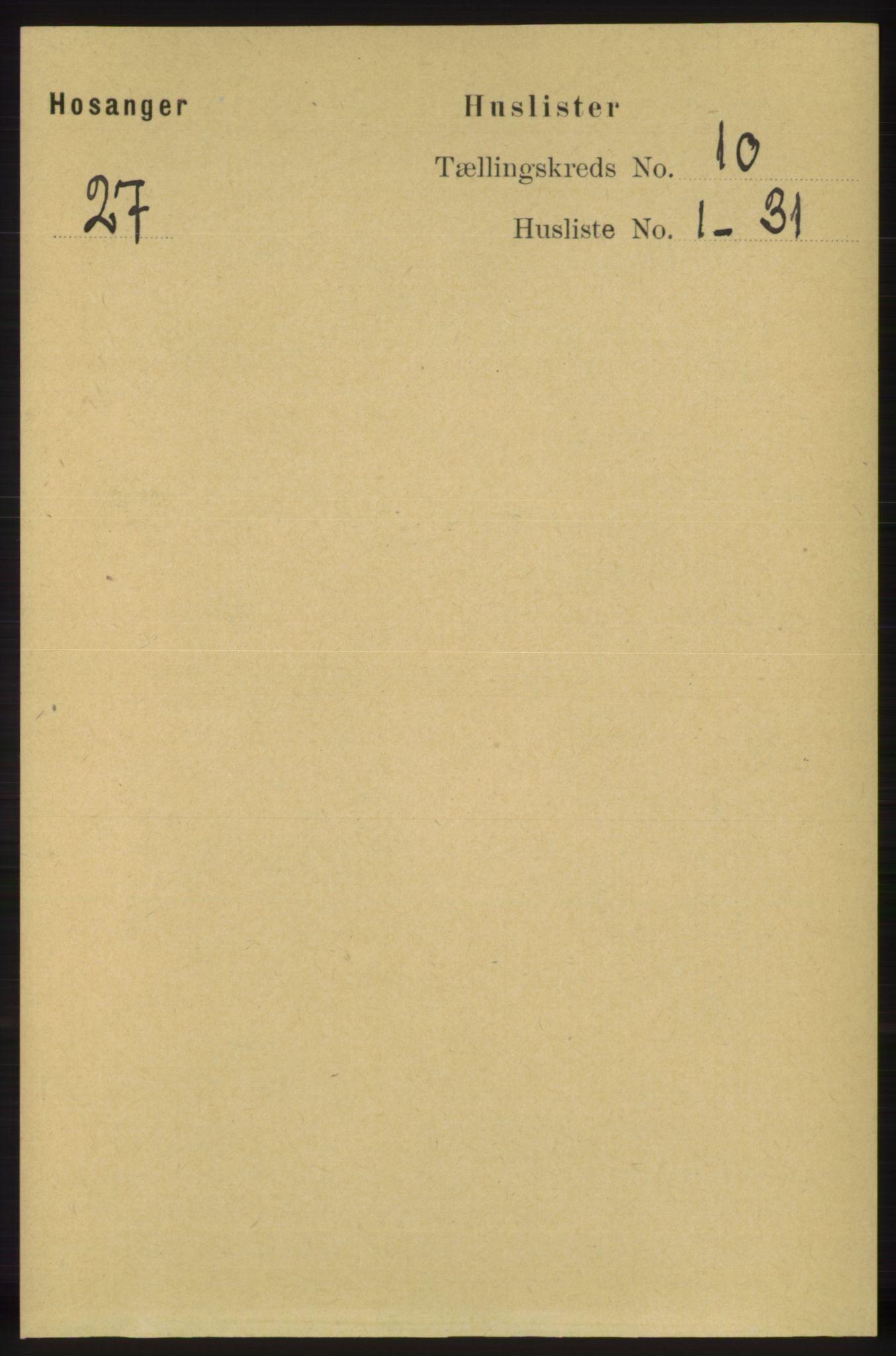 RA, Folketelling 1891 for 1253 Hosanger herred, 1891, s. 3425