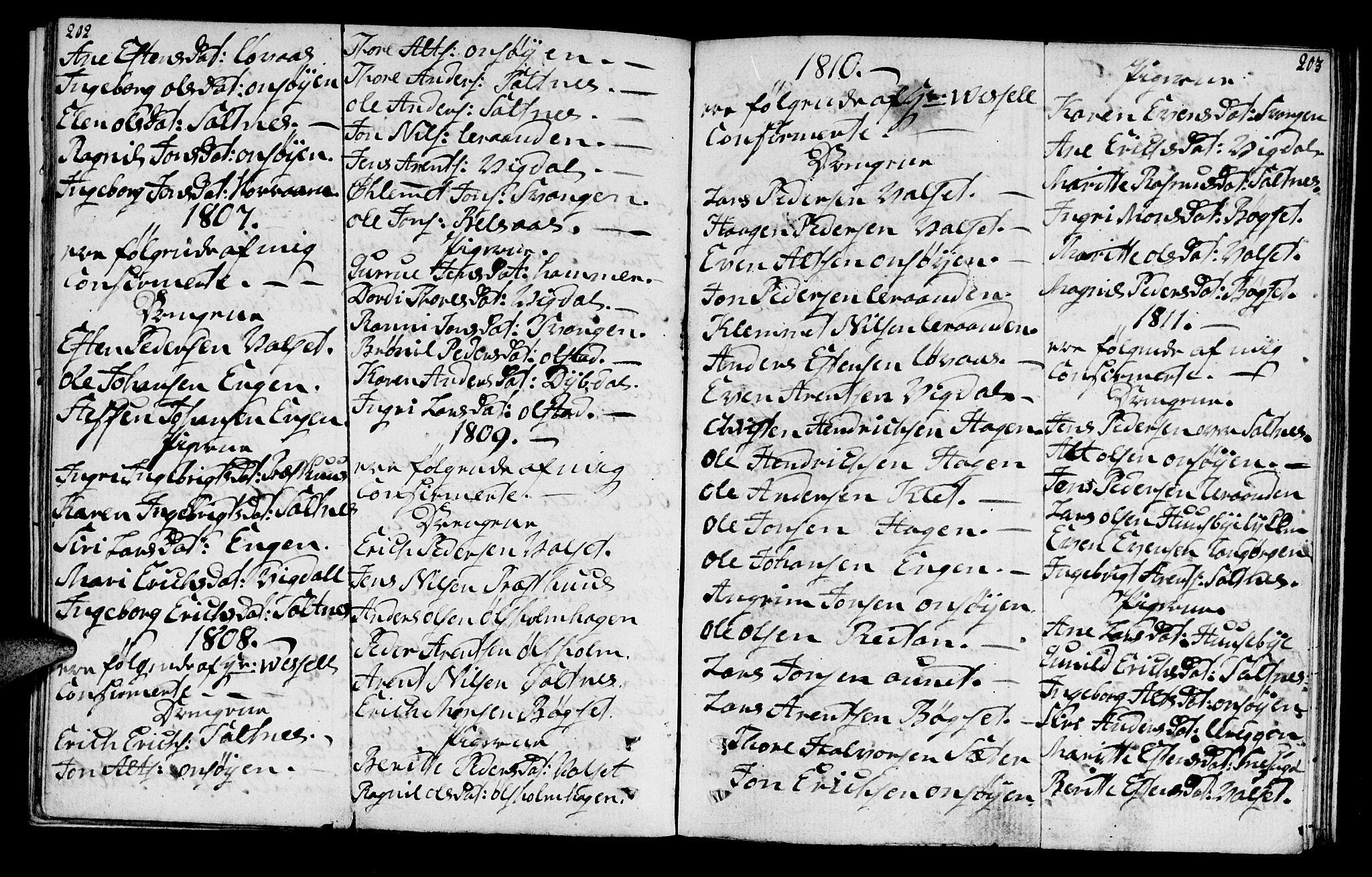 SAT, Ministerialprotokoller, klokkerbøker og fødselsregistre - Sør-Trøndelag, 666/L0785: Ministerialbok nr. 666A03, 1803-1816, s. 202-203