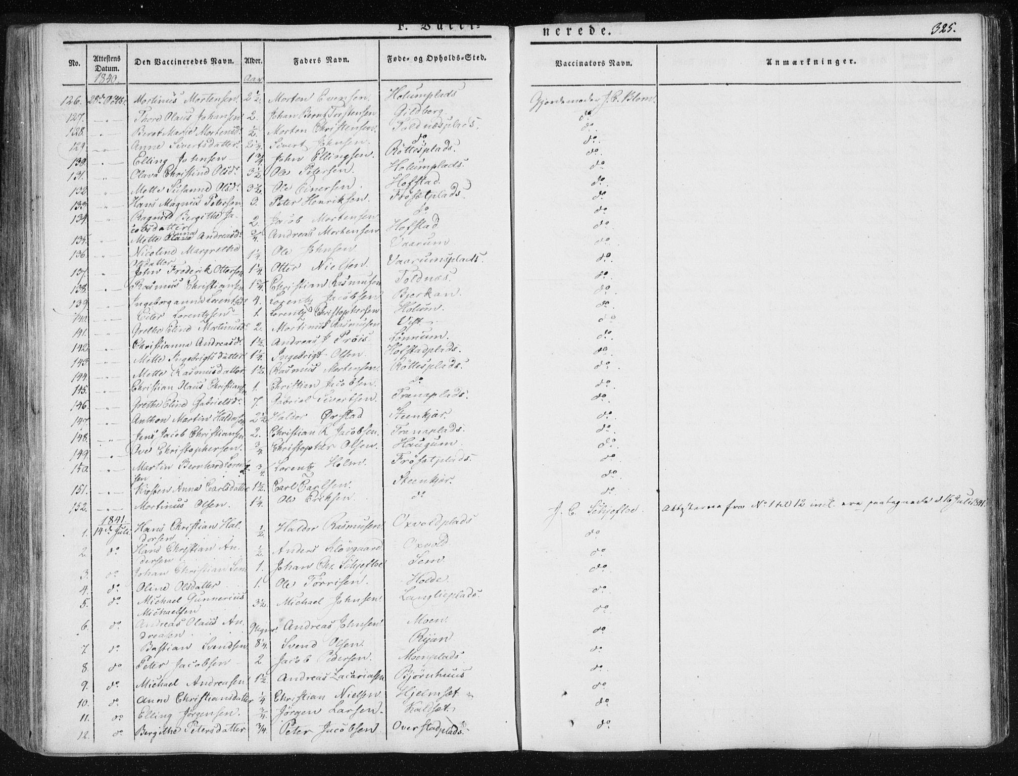 SAT, Ministerialprotokoller, klokkerbøker og fødselsregistre - Nord-Trøndelag, 735/L0339: Ministerialbok nr. 735A06 /1, 1836-1848, s. 325
