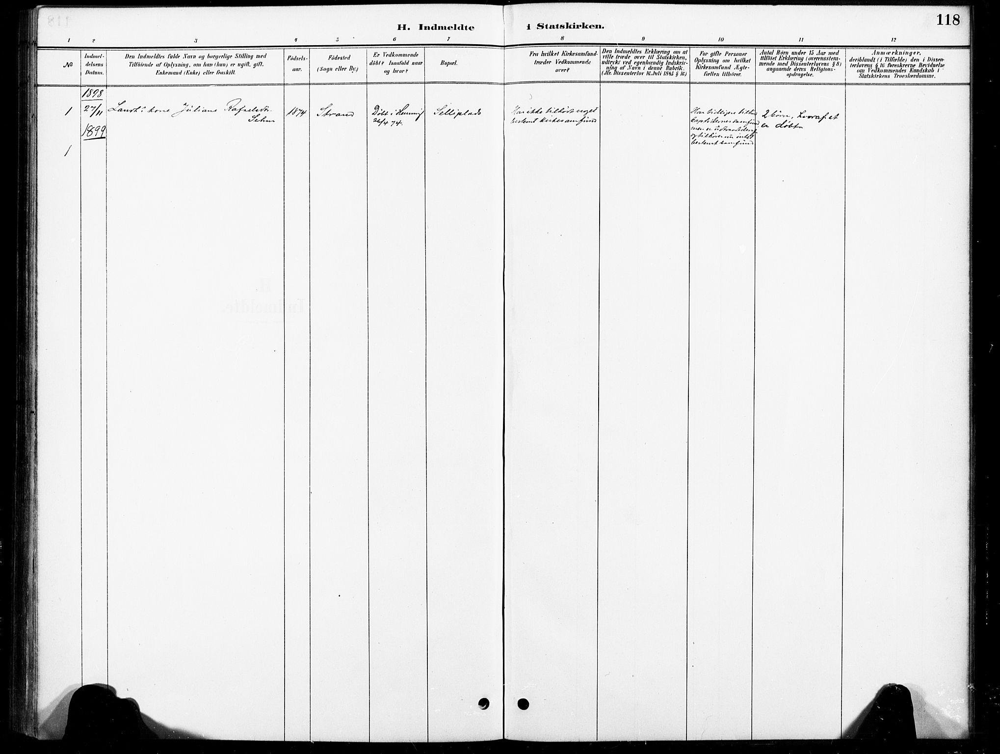 SAT, Ministerialprotokoller, klokkerbøker og fødselsregistre - Nord-Trøndelag, 738/L0364: Ministerialbok nr. 738A01, 1884-1902, s. 118