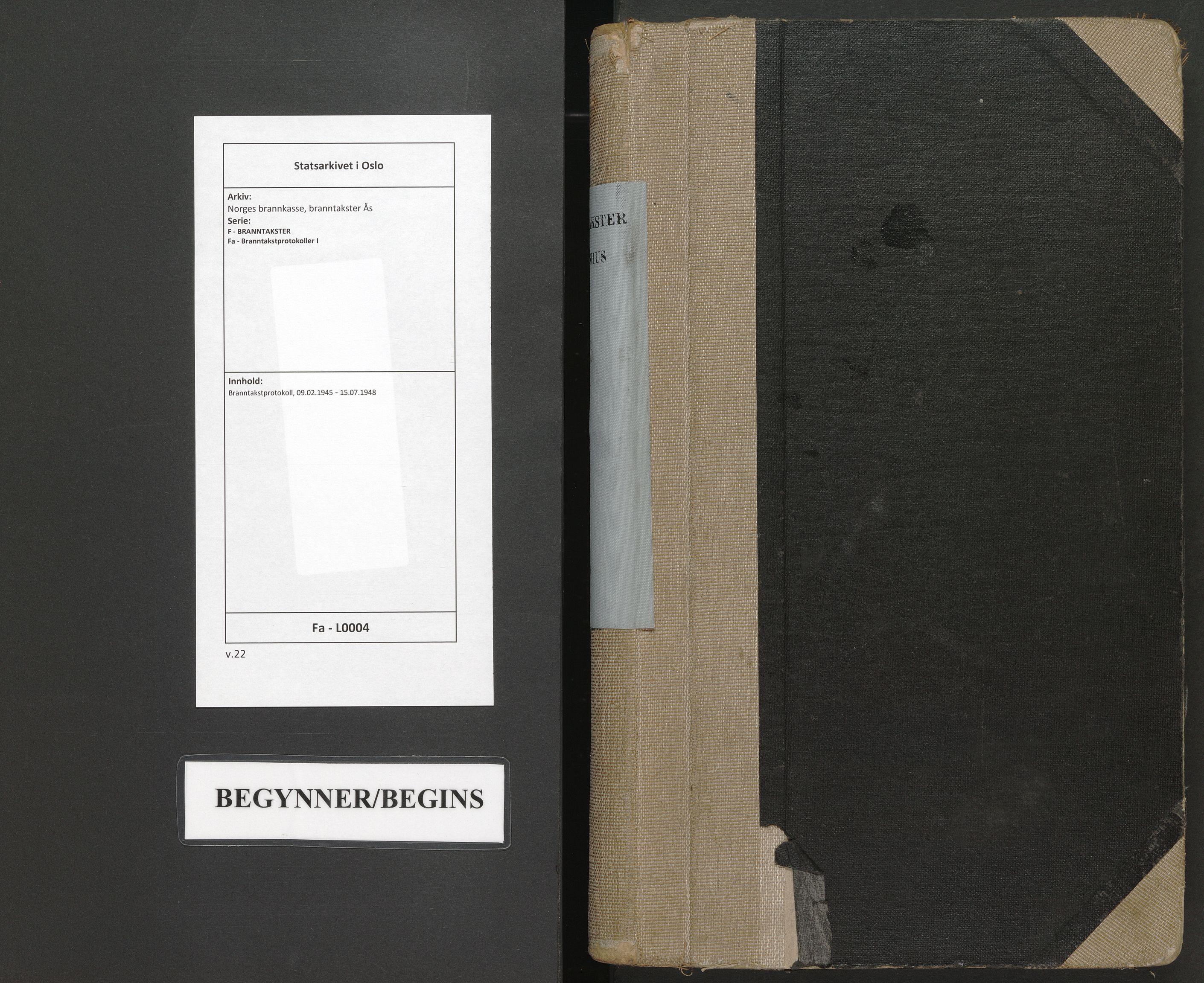 SAO, Norges brannkasse, branntakster Ås, F/Fa/L0004: Branntakstprotokoll, 1945-1948