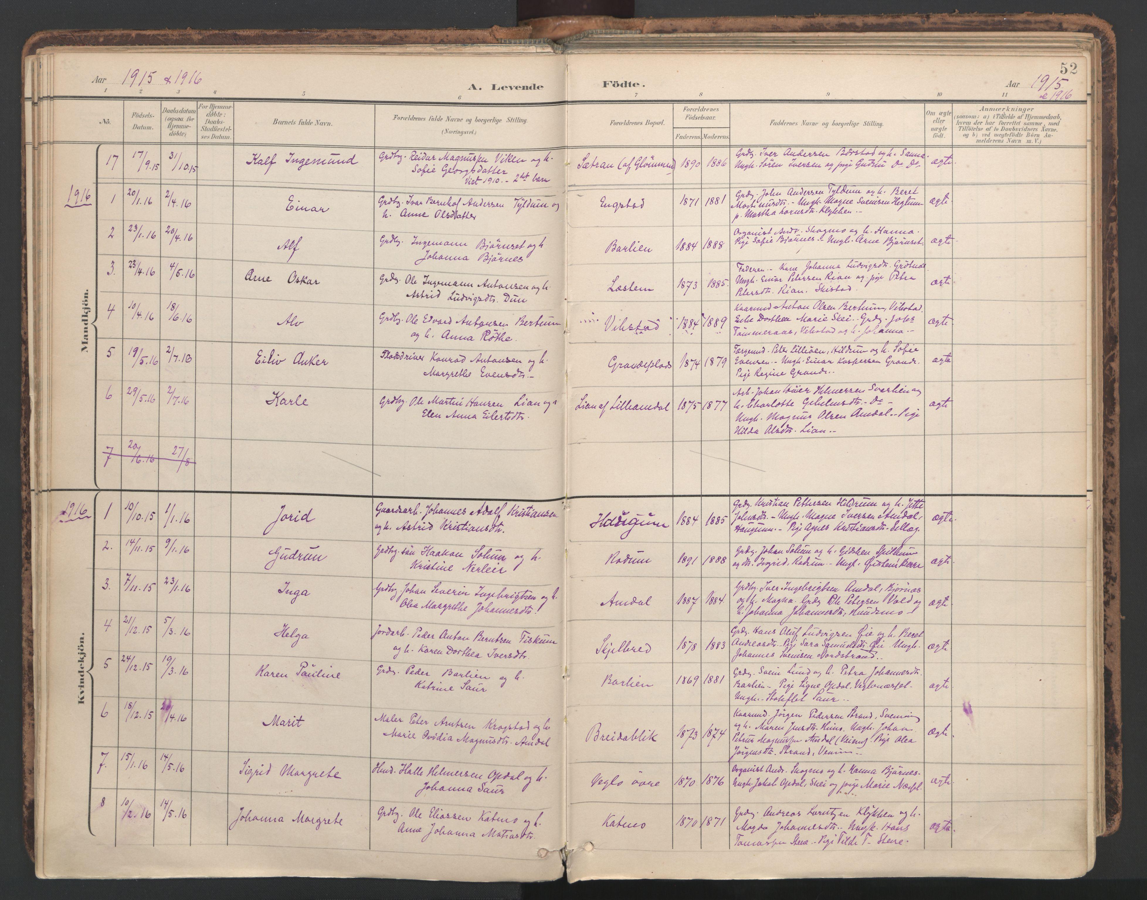 SAT, Ministerialprotokoller, klokkerbøker og fødselsregistre - Nord-Trøndelag, 764/L0556: Ministerialbok nr. 764A11, 1897-1924, s. 52