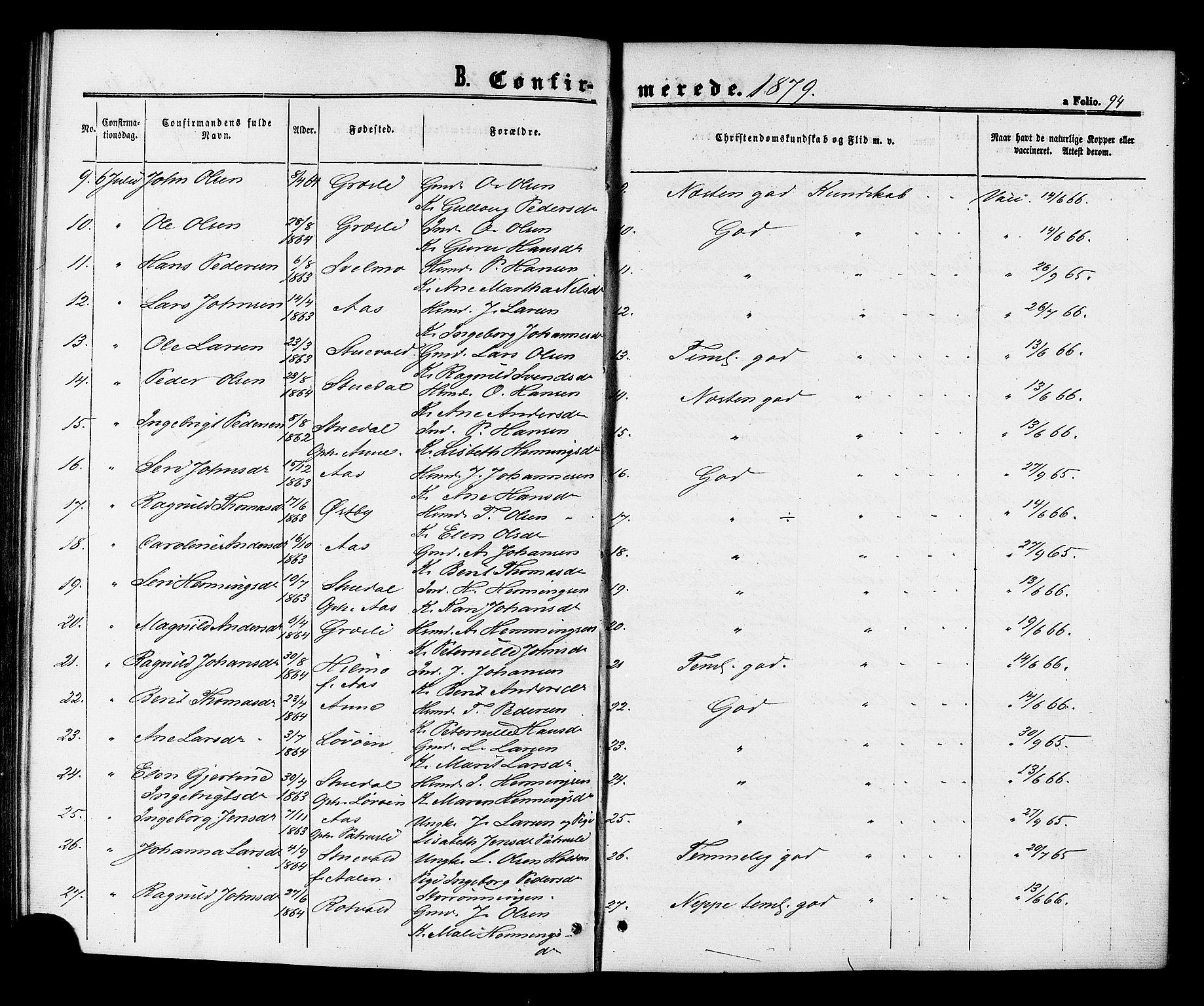 SAT, Ministerialprotokoller, klokkerbøker og fødselsregistre - Sør-Trøndelag, 698/L1163: Ministerialbok nr. 698A01, 1862-1887, s. 94