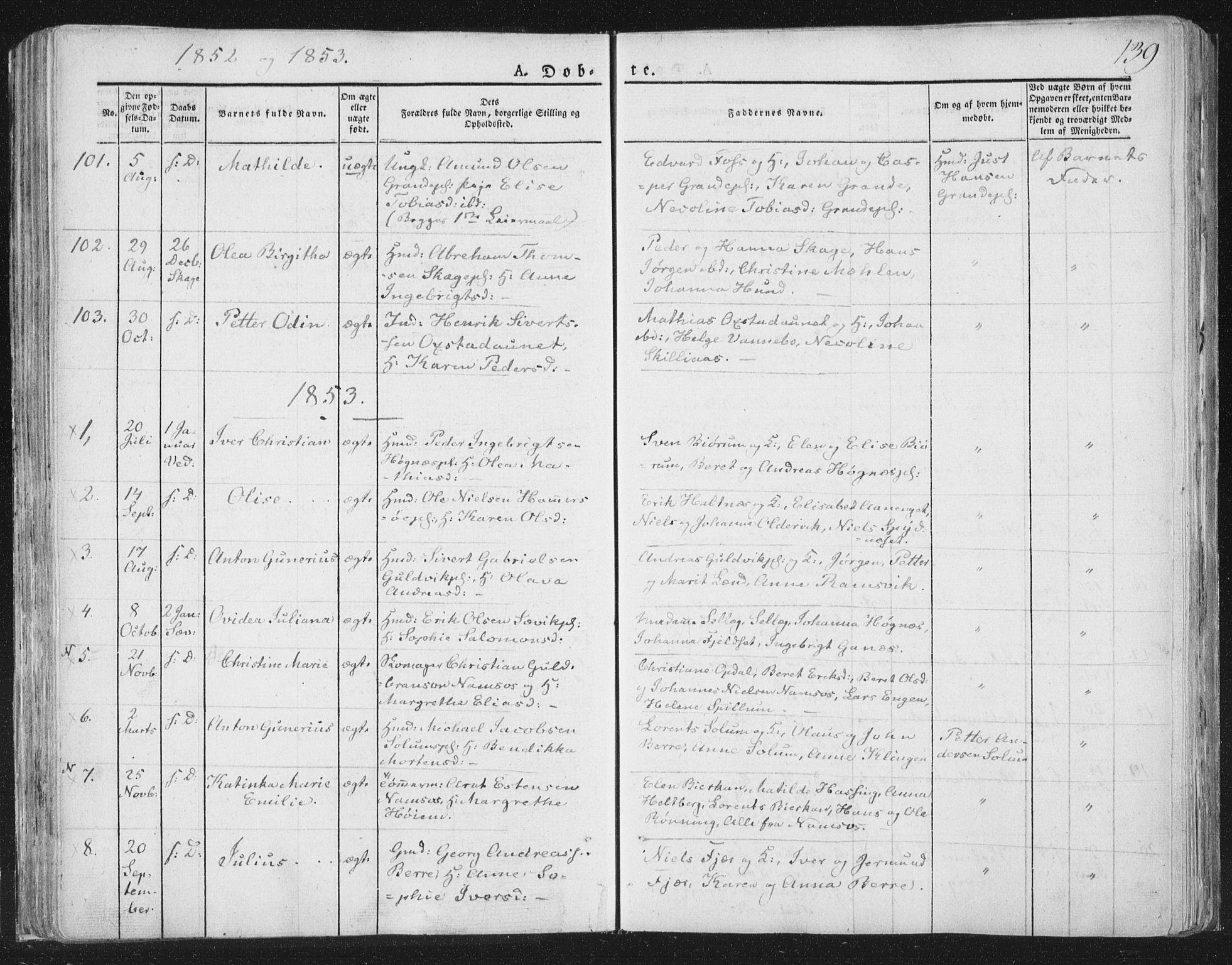 SAT, Ministerialprotokoller, klokkerbøker og fødselsregistre - Nord-Trøndelag, 764/L0551: Ministerialbok nr. 764A07a, 1824-1864, s. 139