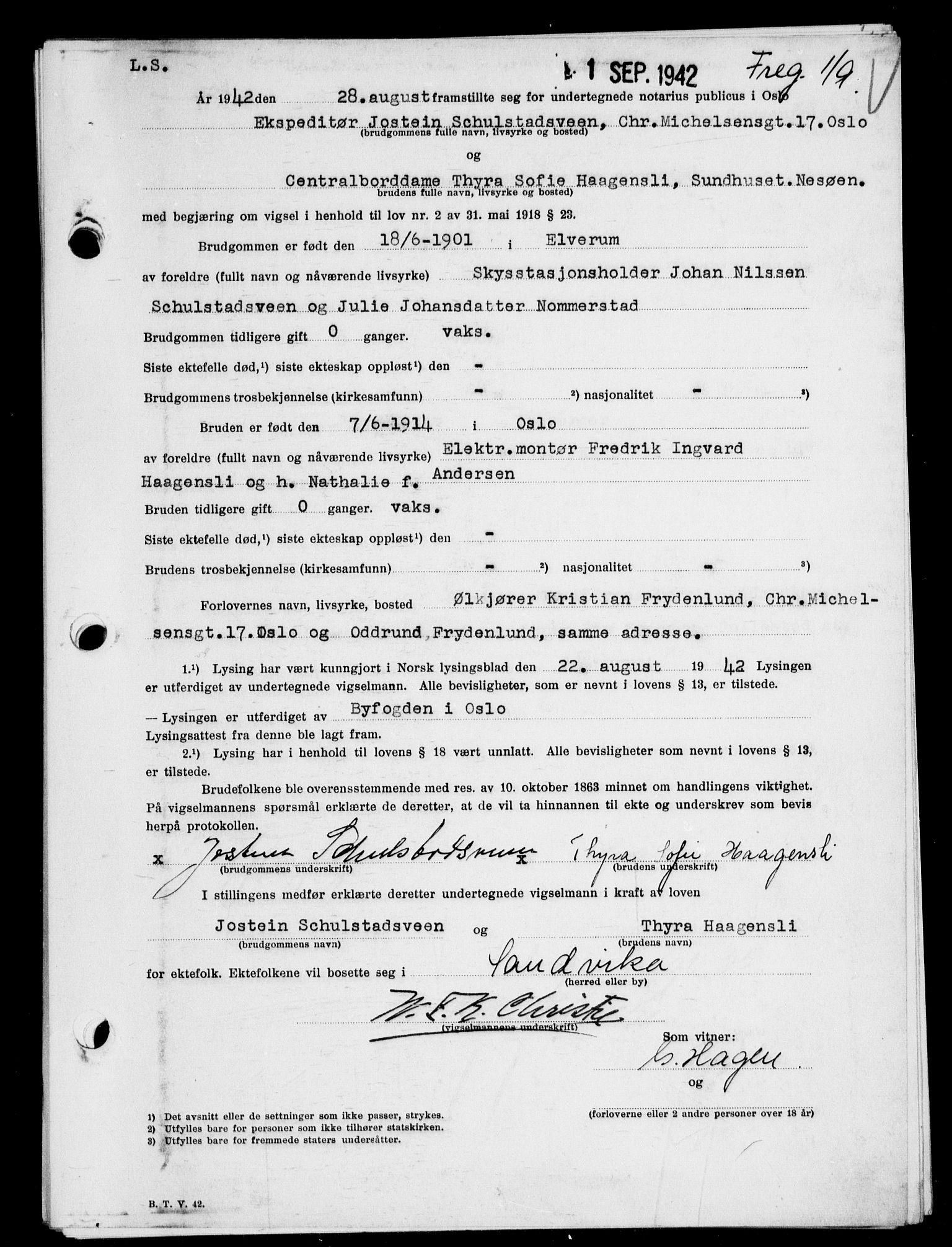 SAO, Oslo byfogd avd. I, L/Lb/Lbb/L0041: Notarialprotokoll, rekke II: Vigsler, 1942, s. upaginert