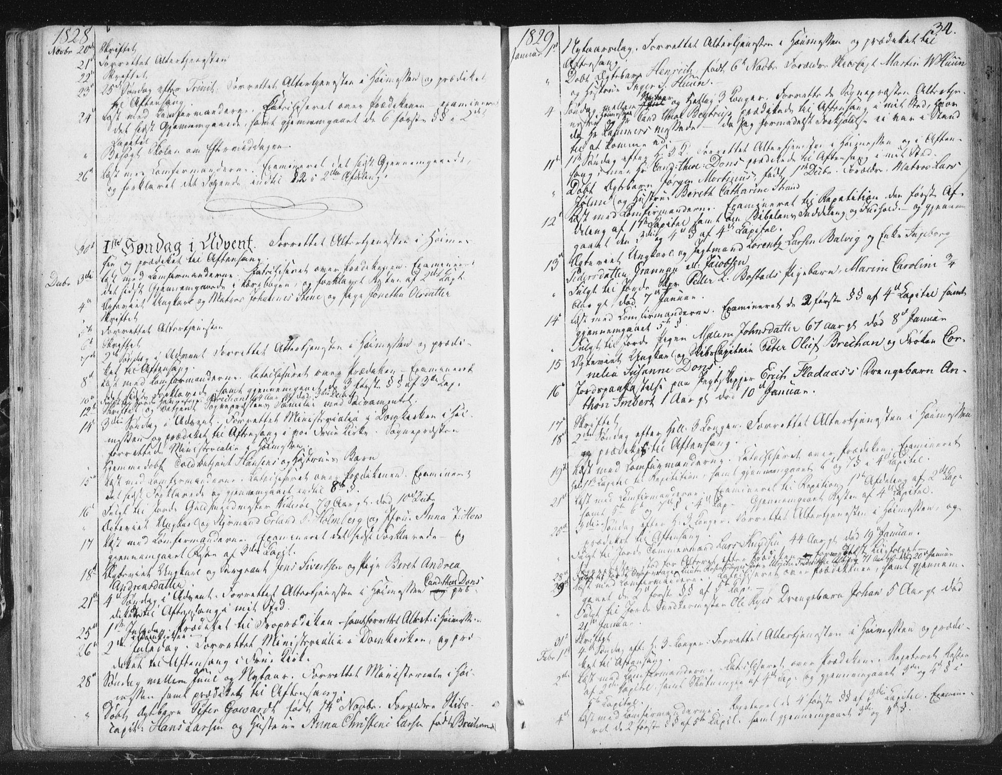 SAT, Ministerialprotokoller, klokkerbøker og fødselsregistre - Sør-Trøndelag, 602/L0127: Residerende kapellans bok nr. 602B01, 1821-1875, s. 34