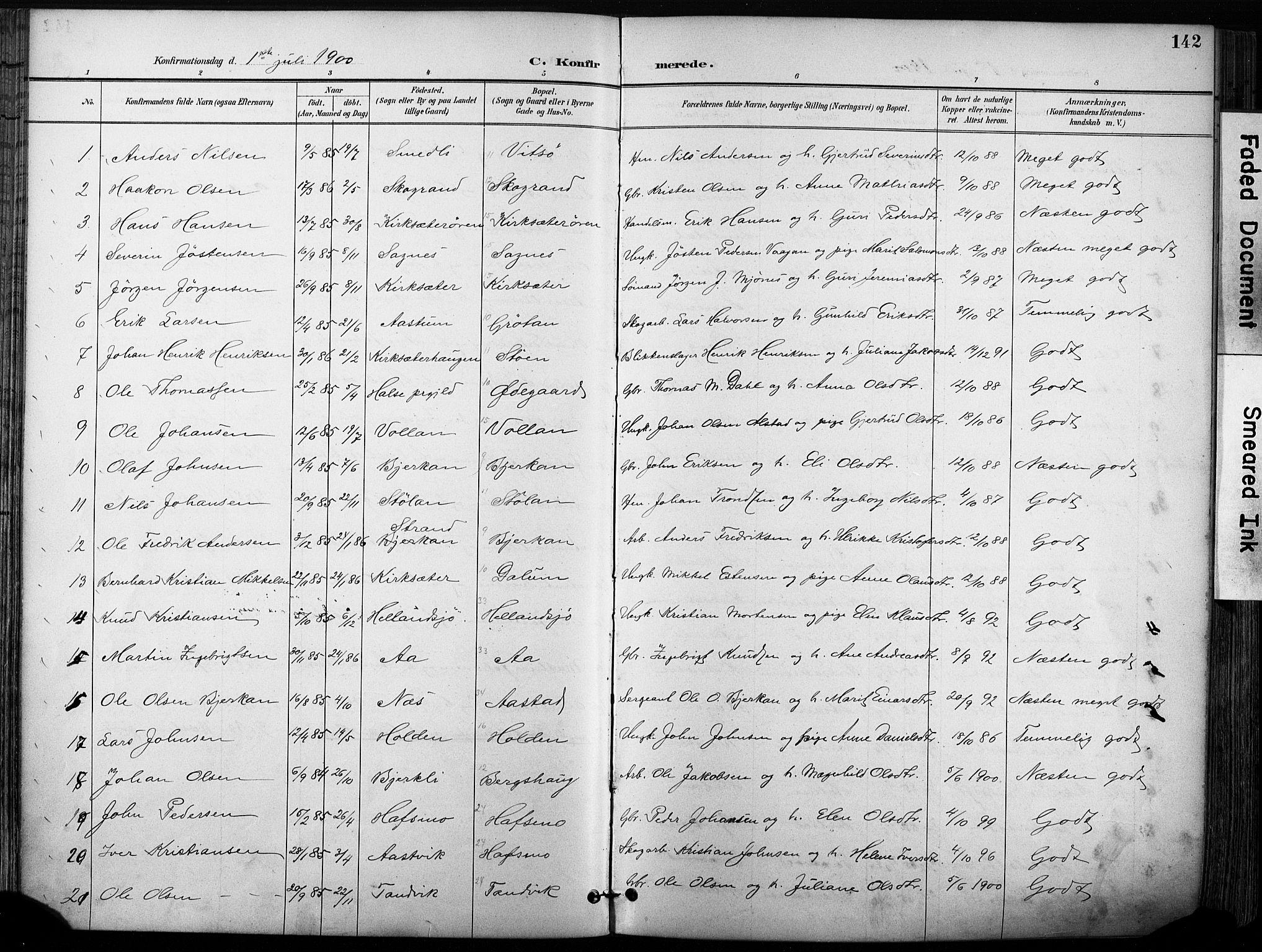 SAT, Ministerialprotokoller, klokkerbøker og fødselsregistre - Sør-Trøndelag, 630/L0497: Ministerialbok nr. 630A10, 1896-1910, s. 142