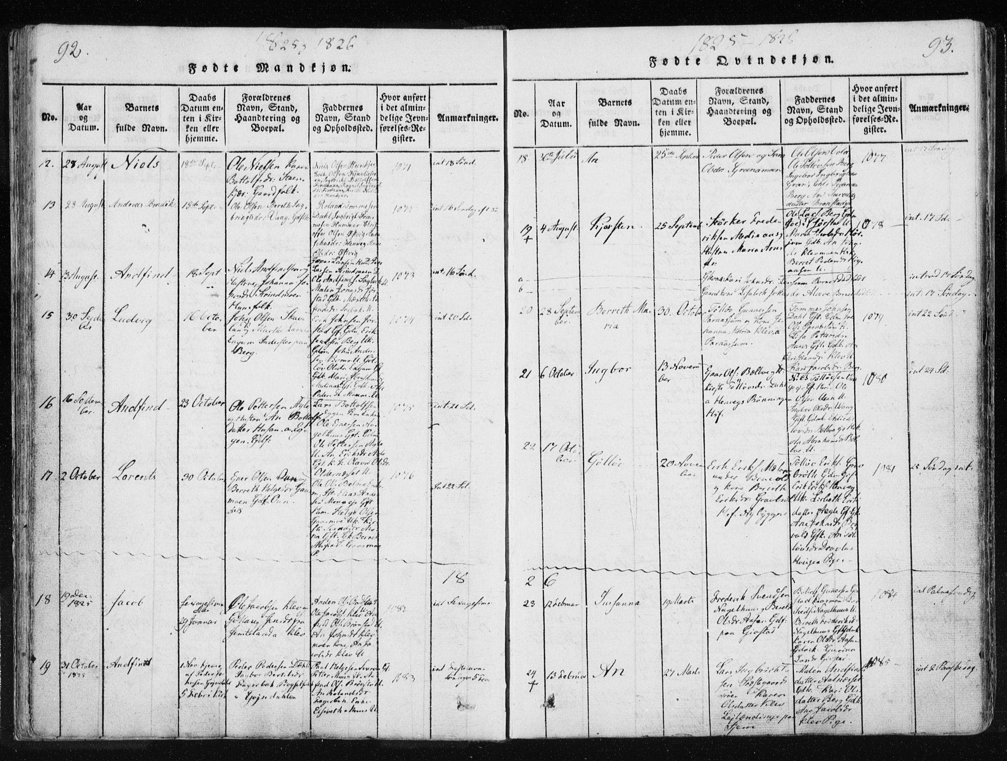 SAT, Ministerialprotokoller, klokkerbøker og fødselsregistre - Nord-Trøndelag, 749/L0469: Ministerialbok nr. 749A03, 1817-1857, s. 92-93