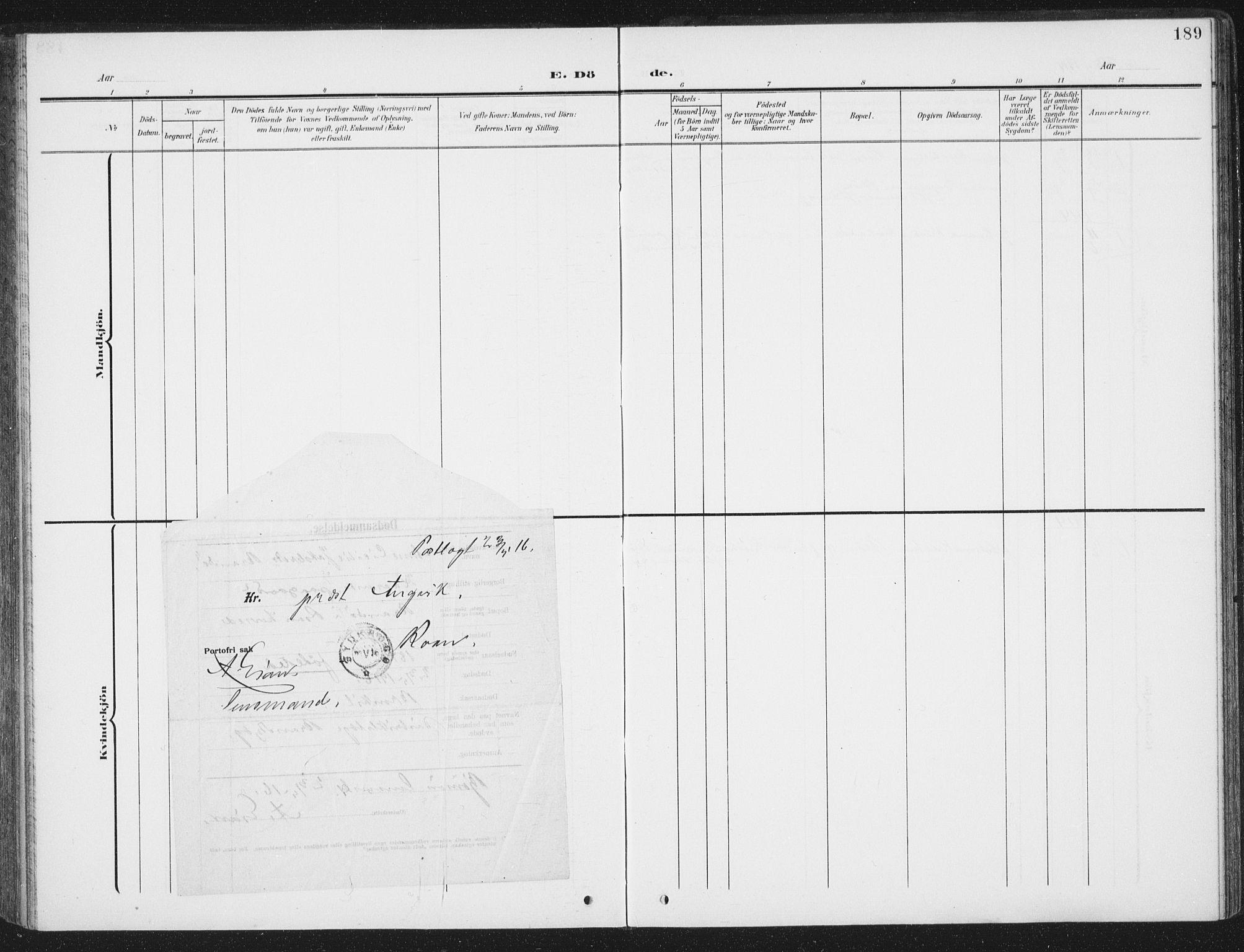 SAT, Ministerialprotokoller, klokkerbøker og fødselsregistre - Sør-Trøndelag, 657/L0709: Ministerialbok nr. 657A10, 1905-1919, s. 189