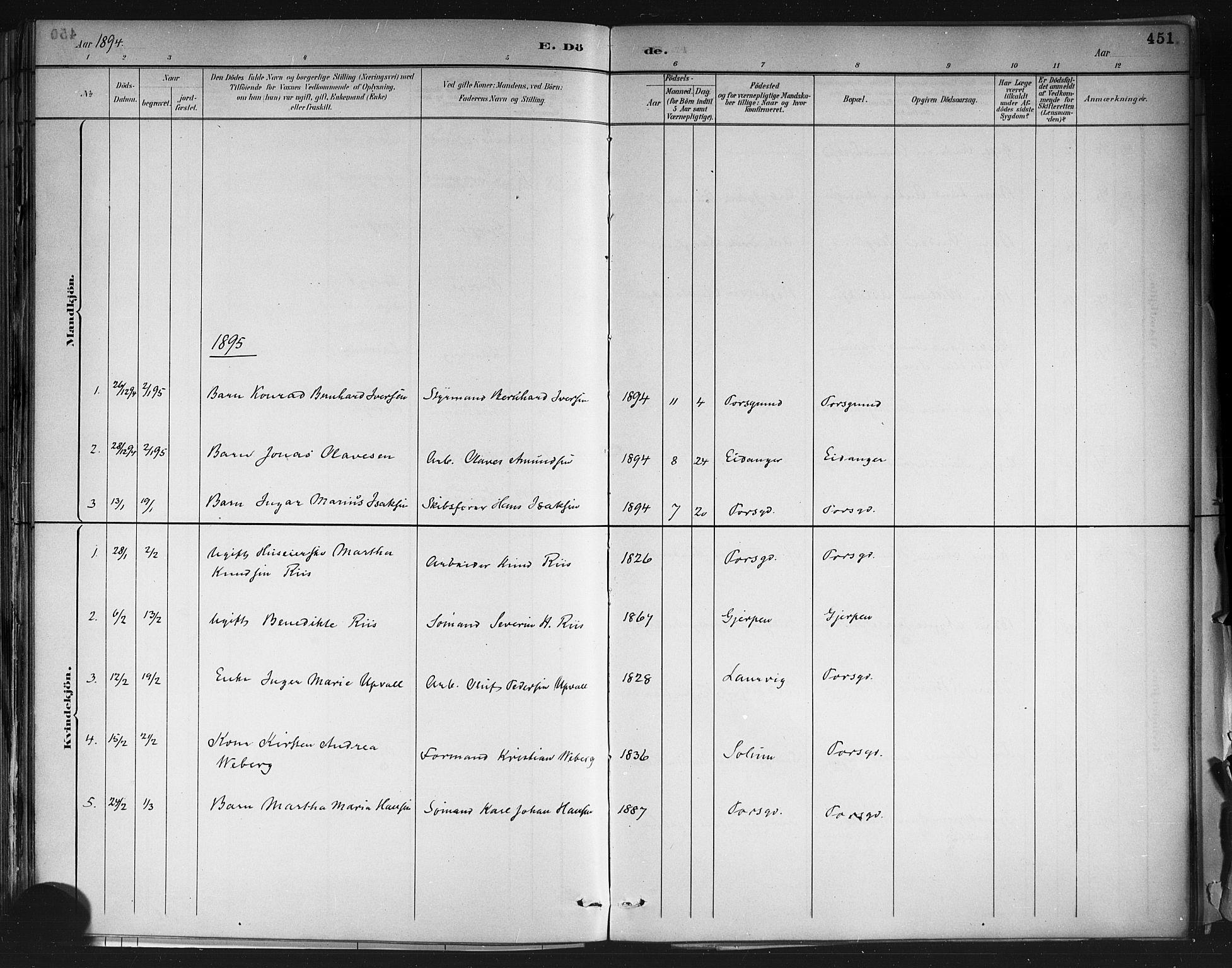 SAKO, Porsgrunn kirkebøker , G/Gb/L0005: Klokkerbok nr. II 5, 1883-1915, s. 451