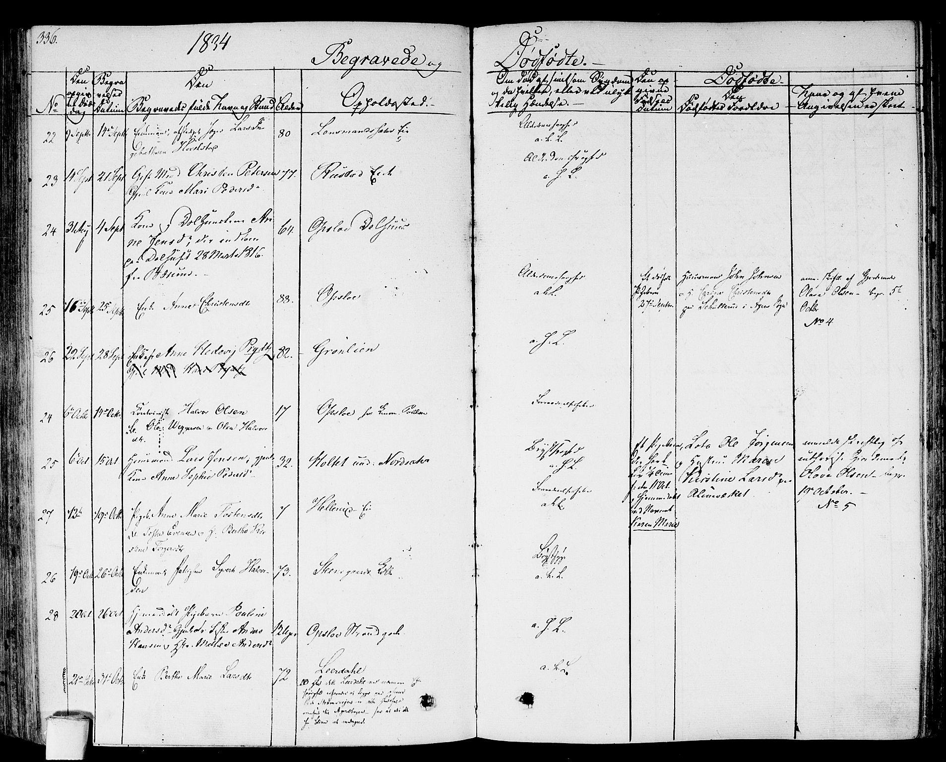 SAO, Gamlebyen prestekontor Kirkebøker, F/Fa/L0003: Ministerialbok nr. 3, 1829-1849, s. 336