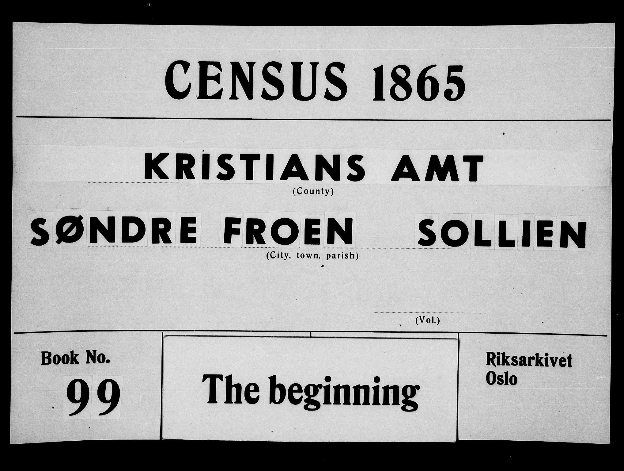 RA, Folketelling 1865 for 0519P Sør-Fron prestegjeld, 1865, s. 1