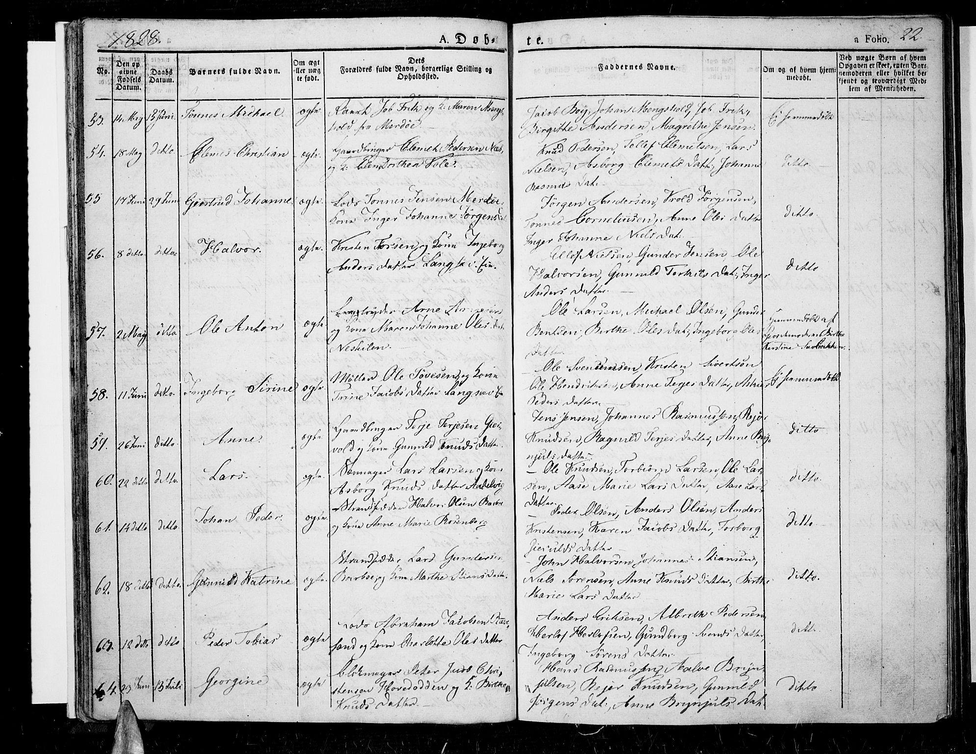 SAK, Tromøy sokneprestkontor, F/Fa/L0003: Ministerialbok nr. A 3, 1825-1837, s. 22