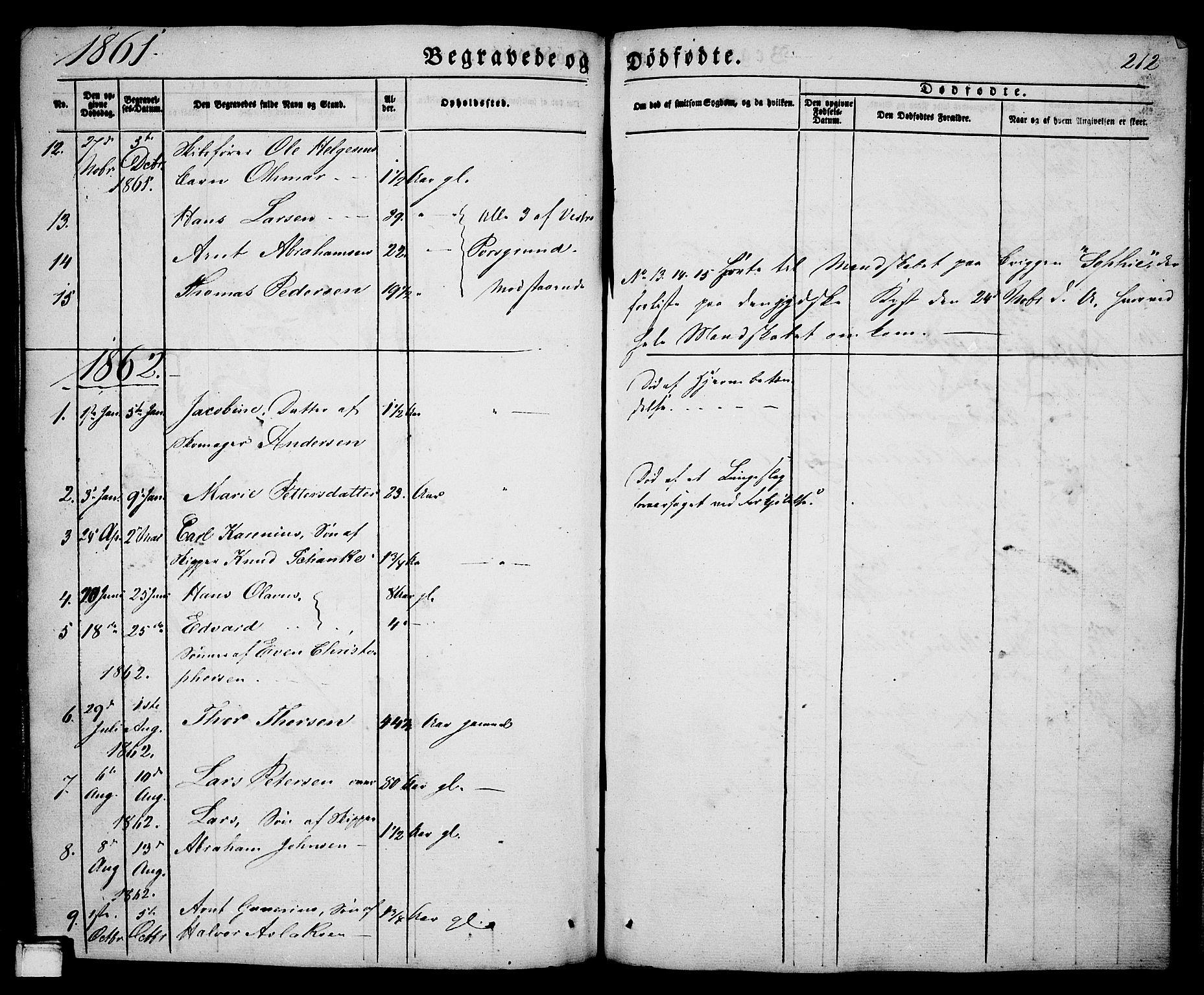 SAKO, Porsgrunn kirkebøker , G/Ga/L0002: Klokkerbok nr. I 2, 1847-1877, s. 212