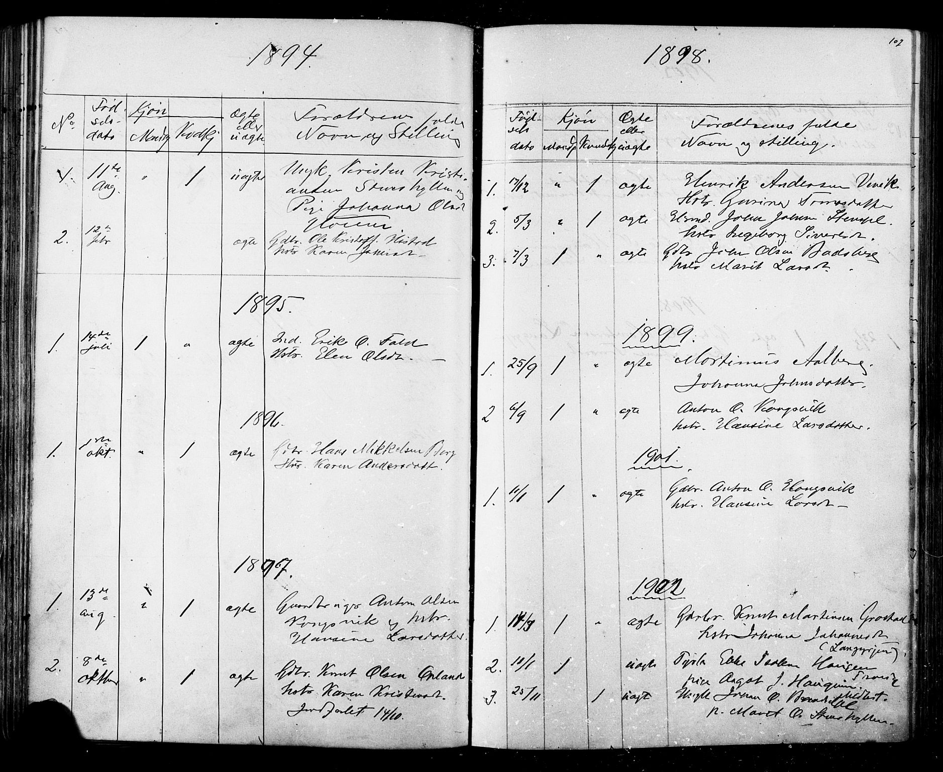 SAT, Ministerialprotokoller, klokkerbøker og fødselsregistre - Sør-Trøndelag, 612/L0387: Klokkerbok nr. 612C03, 1874-1908, s. 102