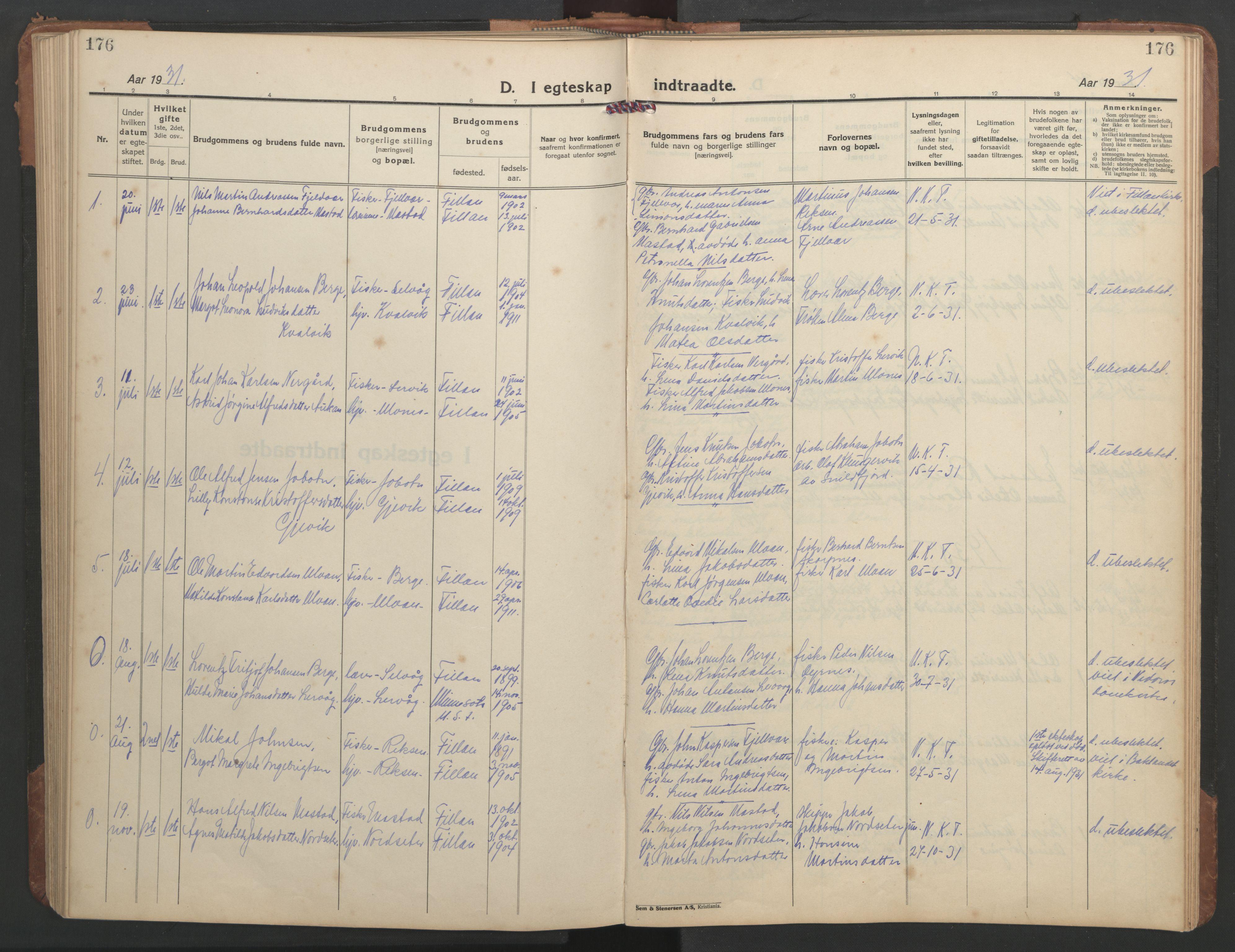 SAT, Ministerialprotokoller, klokkerbøker og fødselsregistre - Sør-Trøndelag, 638/L0569: Klokkerbok nr. 638C01, 1923-1961, s. 176