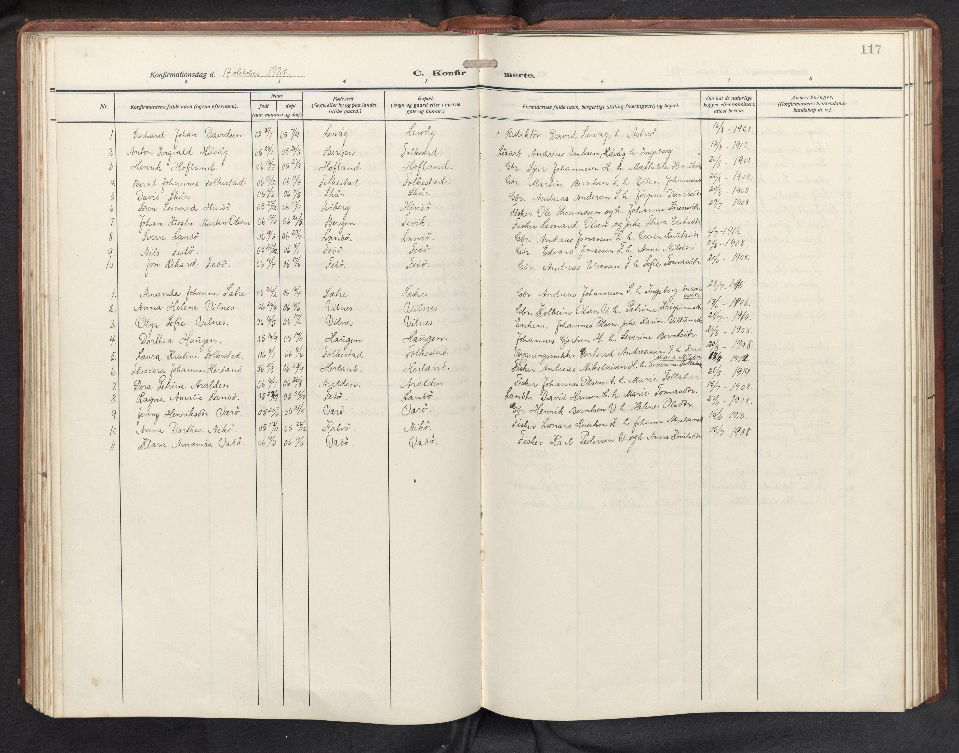 SAB, Askvoll sokneprestembete, H/Hab/Habb/L0002: Klokkerbok nr. B 2, 1910-1947, s. 116b-117a