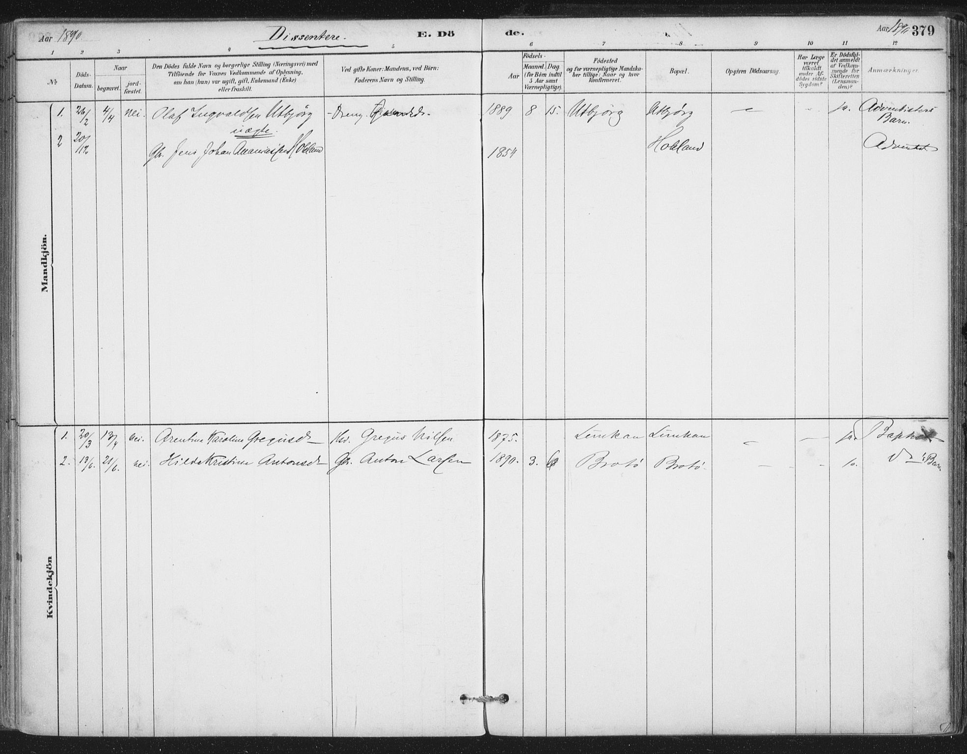 SAT, Ministerialprotokoller, klokkerbøker og fødselsregistre - Nordland, 888/L1244: Ministerialbok nr. 888A10, 1880-1890, s. 379