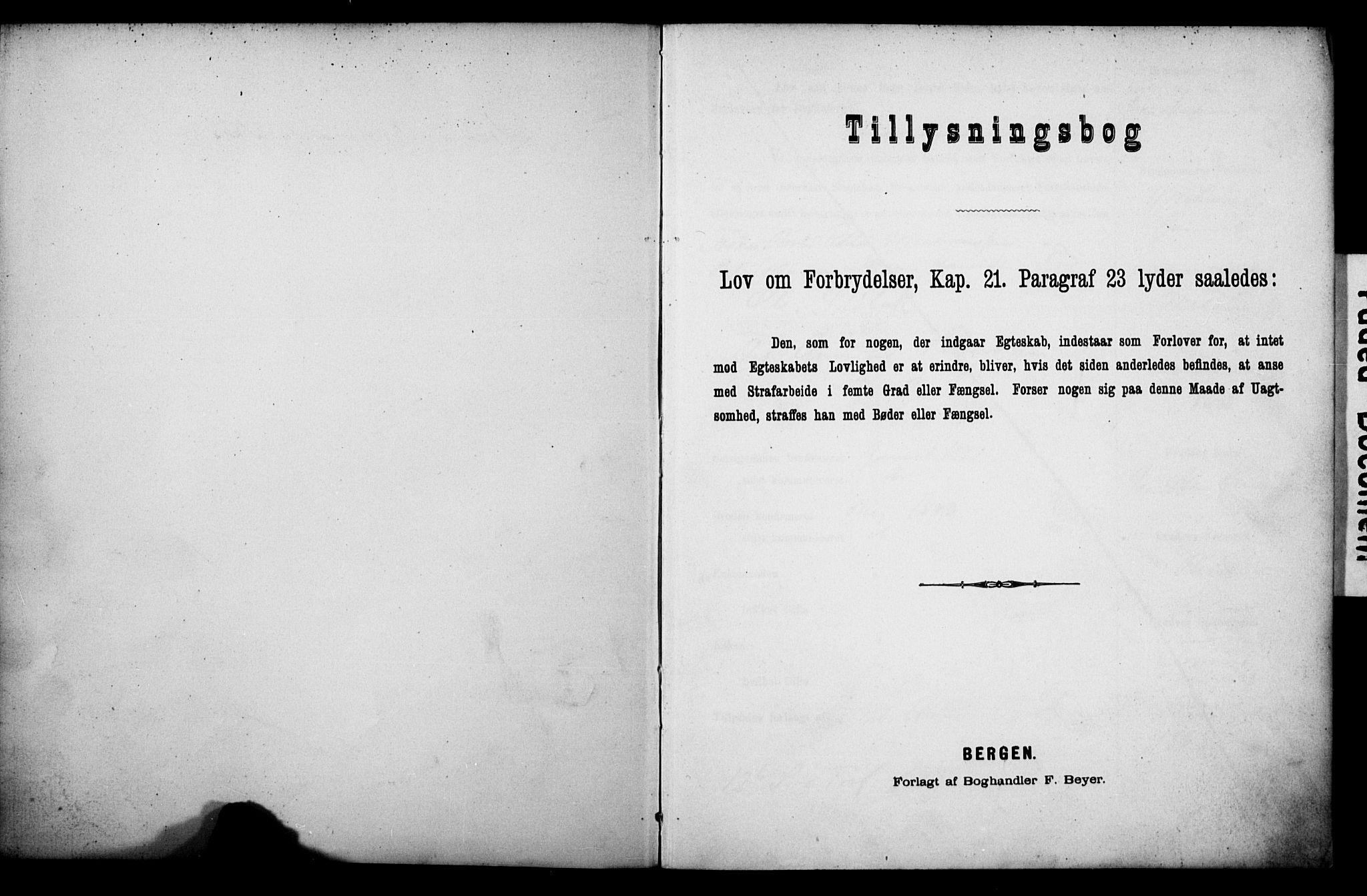 SATØ, Tromsø sokneprestkontor/stiftsprosti/domprosti, H/Hc/L0099/0001: Lysningsprotokoll nr. 5, 1886-1892