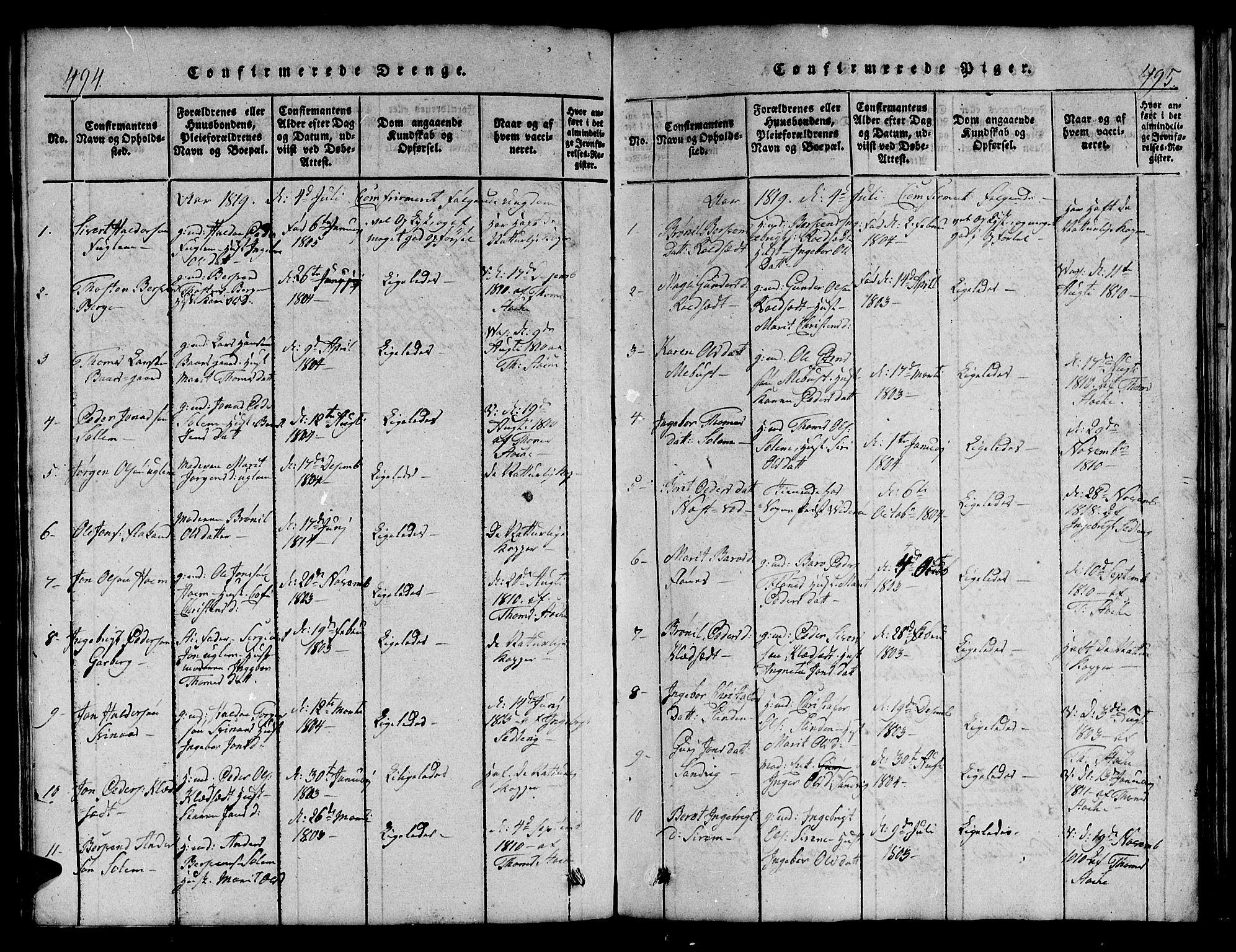 SAT, Ministerialprotokoller, klokkerbøker og fødselsregistre - Sør-Trøndelag, 695/L1152: Klokkerbok nr. 695C03, 1816-1831, s. 494-495