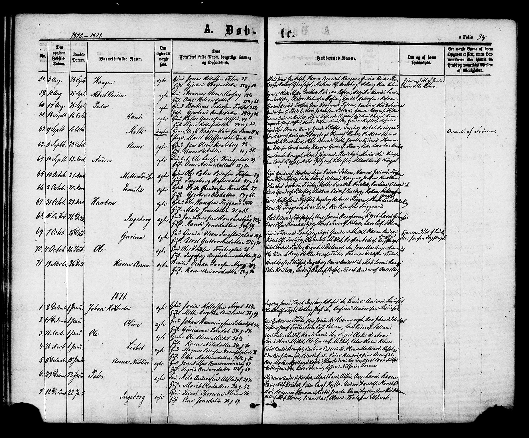 SAT, Ministerialprotokoller, klokkerbøker og fødselsregistre - Nord-Trøndelag, 703/L0029: Ministerialbok nr. 703A02, 1863-1879, s. 34