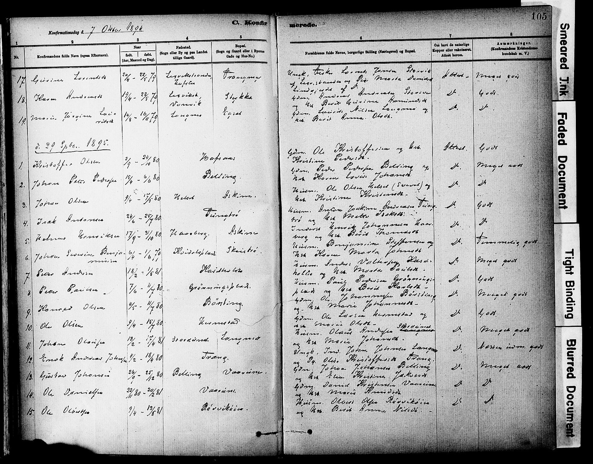SAT, Ministerialprotokoller, klokkerbøker og fødselsregistre - Sør-Trøndelag, 646/L0615: Ministerialbok nr. 646A13, 1885-1900, s. 105