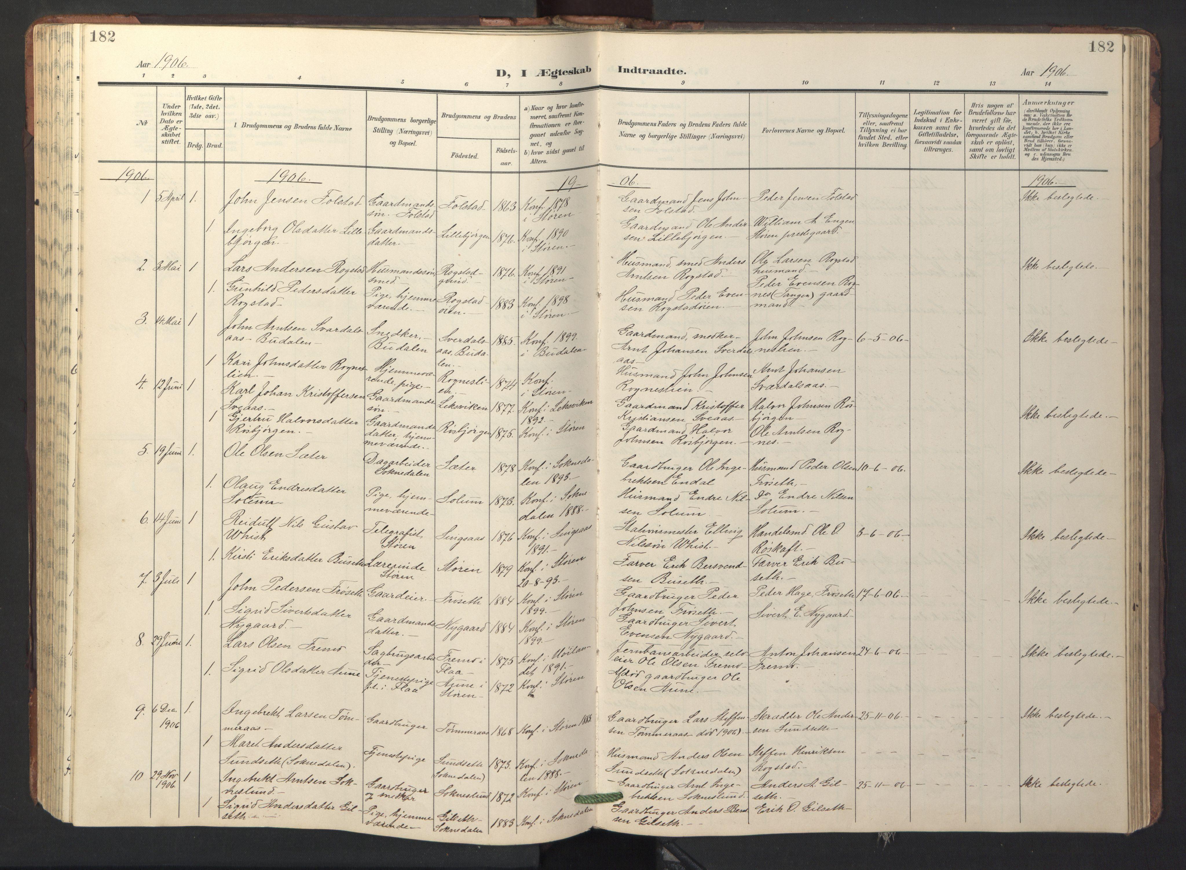 SAT, Ministerialprotokoller, klokkerbøker og fødselsregistre - Sør-Trøndelag, 687/L1019: Klokkerbok nr. 687C03, 1904-1931, s. 182