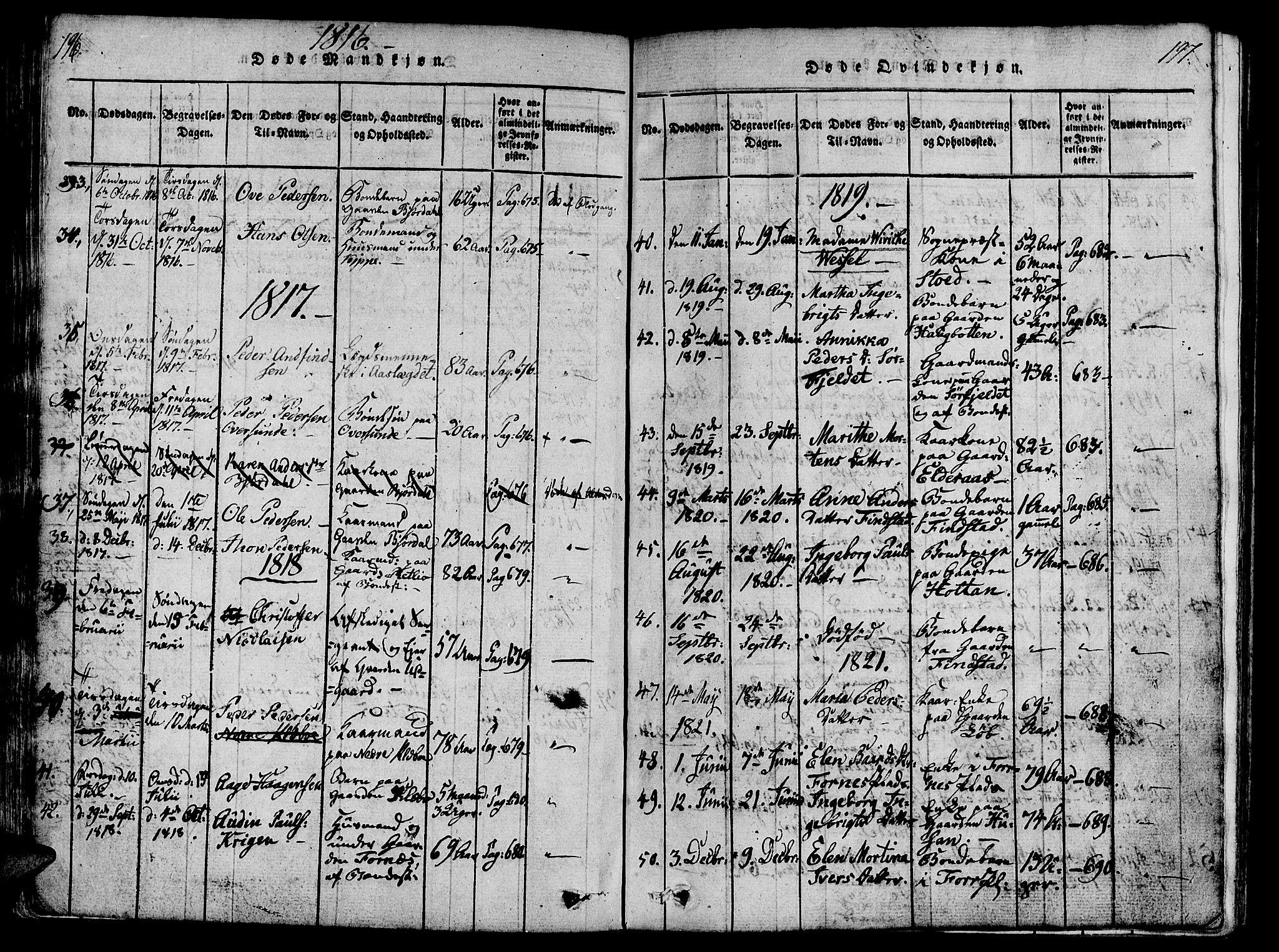 SAT, Ministerialprotokoller, klokkerbøker og fødselsregistre - Nord-Trøndelag, 746/L0441: Ministerialbok nr. 746A03 /1, 1816-1827, s. 196-197