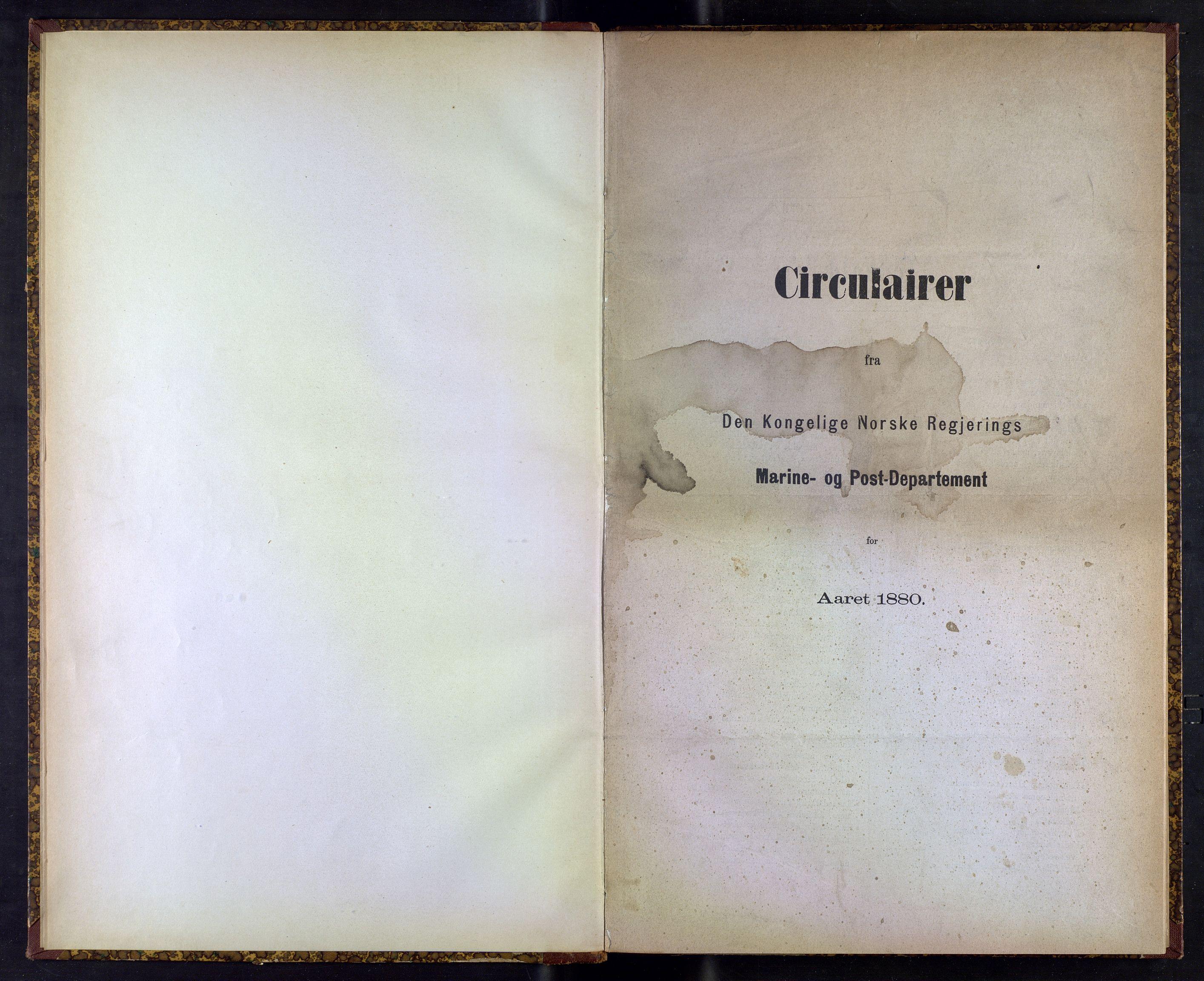 NOPO, Norges Postmuseums bibliotek, -/-: Sirkulærer fra Den Kongelige Norske Regjerings Marine- og Postdepartement, 1880