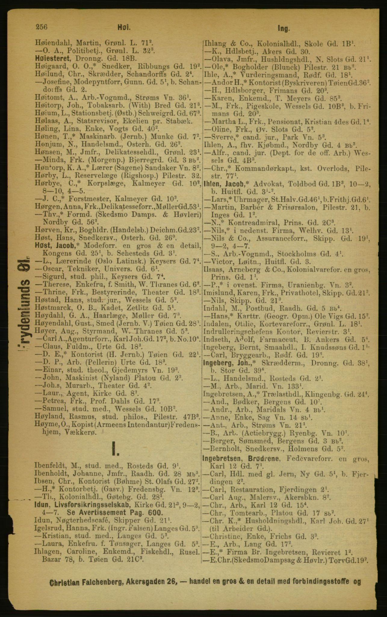RA, Kristiania adressebok (publikasjon)*, 1889, s. 256