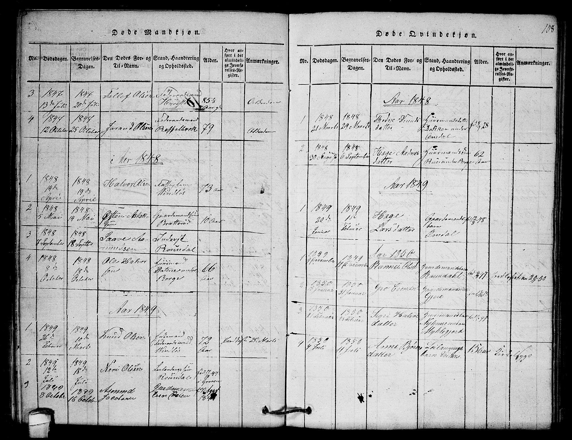 SAKO, Lårdal kirkebøker, G/Gb/L0001: Klokkerbok nr. II 1, 1815-1865, s. 108